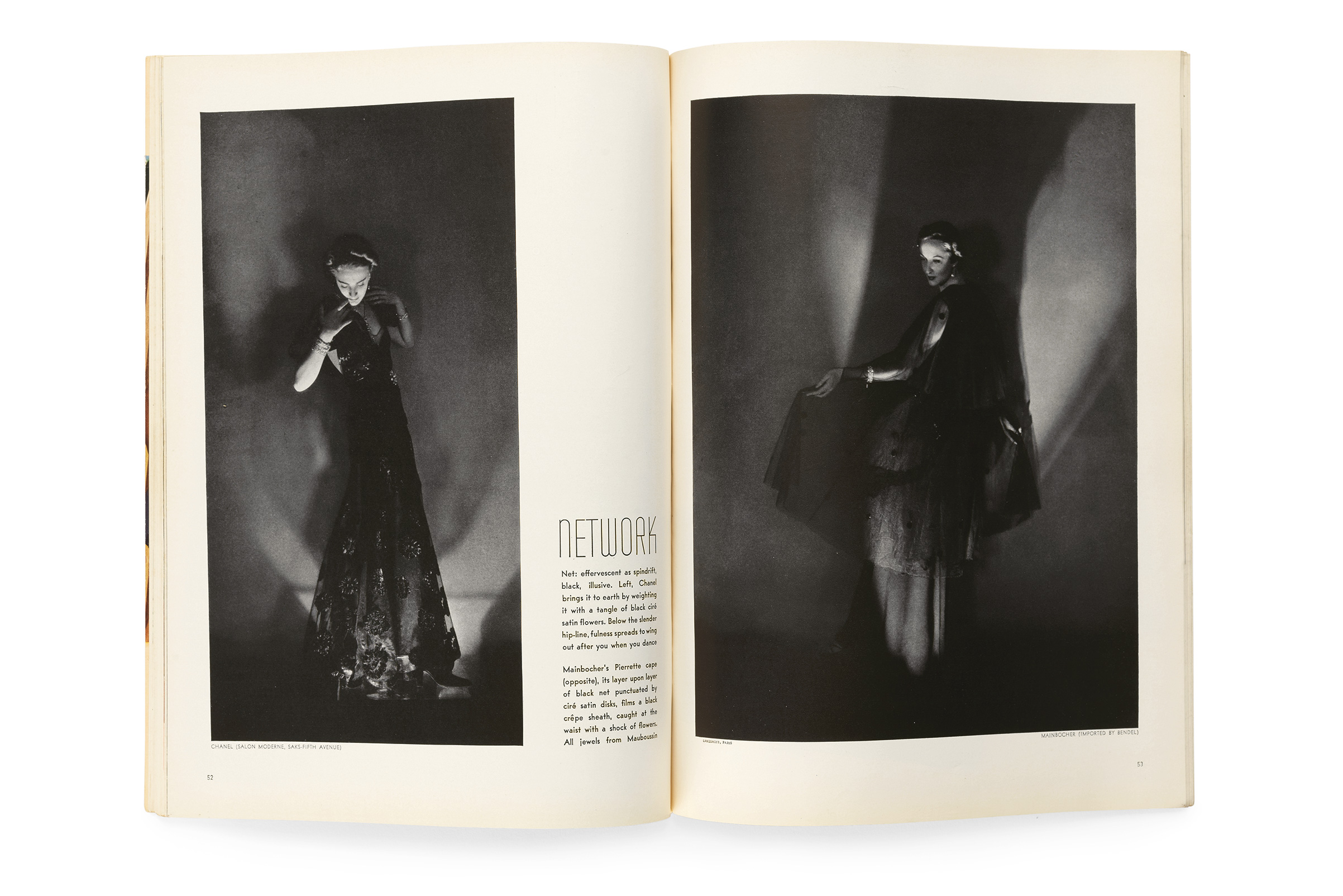 "Vogue, January 1, 1936, photographs by Herman Landshoff. ""A German photographer living in Paris, Landshoff's striking pair of photographs for the 1936 issue, models flicker like fireflies as darkness all but envelops them, an effect that recalls German expressionist cinema and anticipates film noir."""