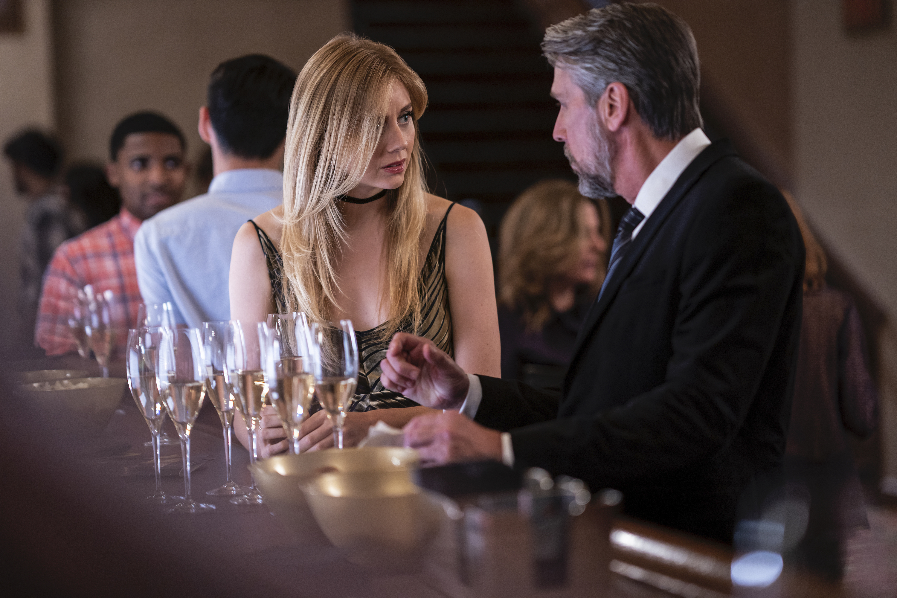 Justine Lupe and Alan Ruck as Willa and Connor in 'Succession.'