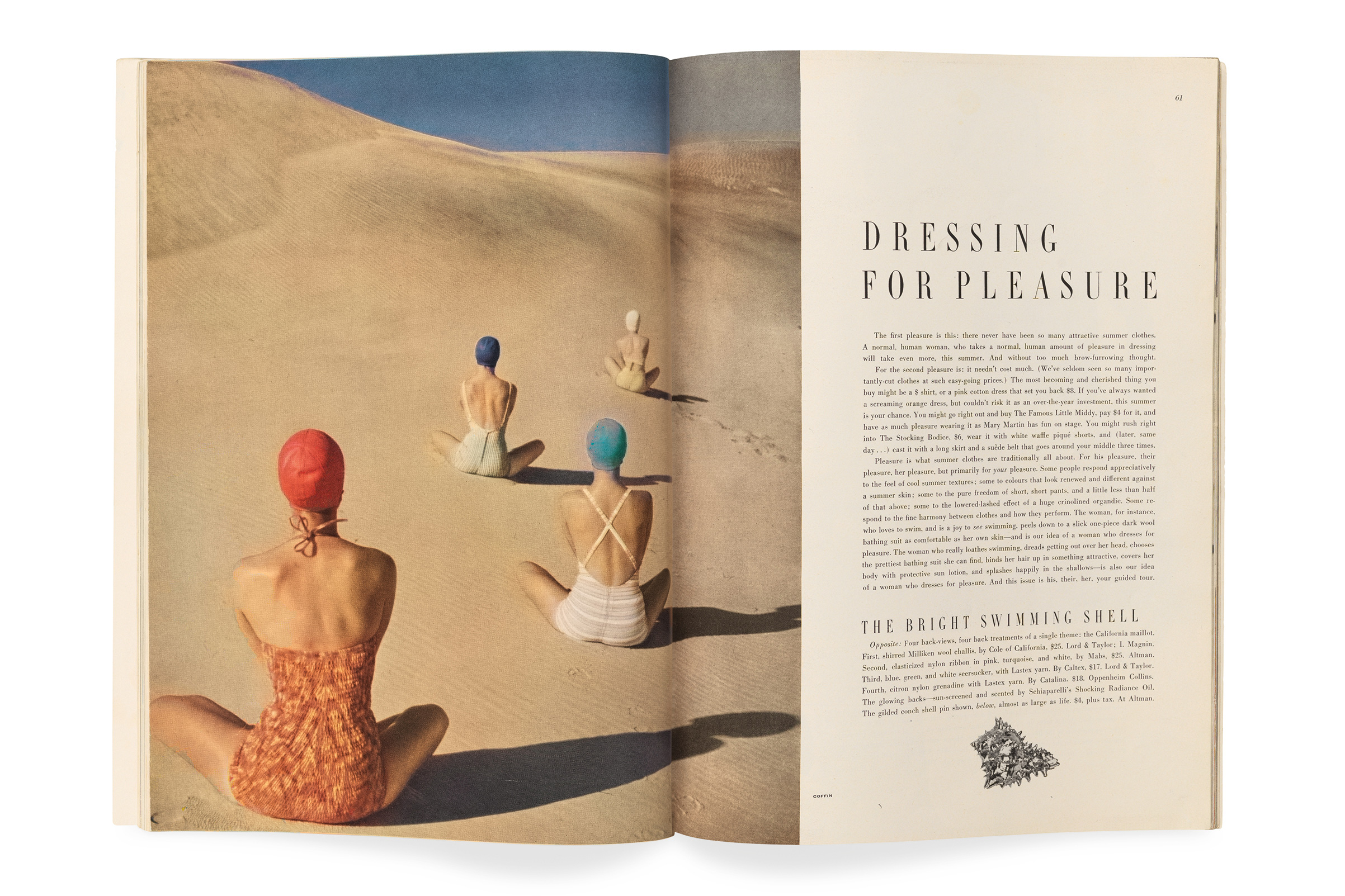 "Vogue, June 1949, photograph by Clifford Coffin. ""Clifford Coffin took June's most famous fashion photograph—a bathing-suit                   spread that opens the editorial well on a playfully surreal note. Coffin's                   arrangement of four seated figures on a sand dune, their backs to us and their                   brightly colored bathing caps like signposts receding into the distance, recalls                   René Magritte and anticipates Pop art at its glossiest."""