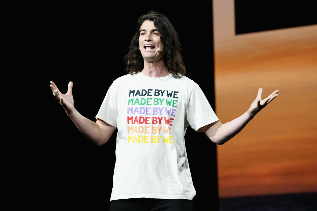 Adam Neumann speaks onstage during WeWork Presents Second Annual Creator Global Finals at Microsoft Theater on January 9, 2019 in Los Angeles, California.  Neumann, the charismatic entrepreneur who led WeWork to become one of the world's most valuable startups, is stepping down as chief executive officer, said a person briefed on the decision.
