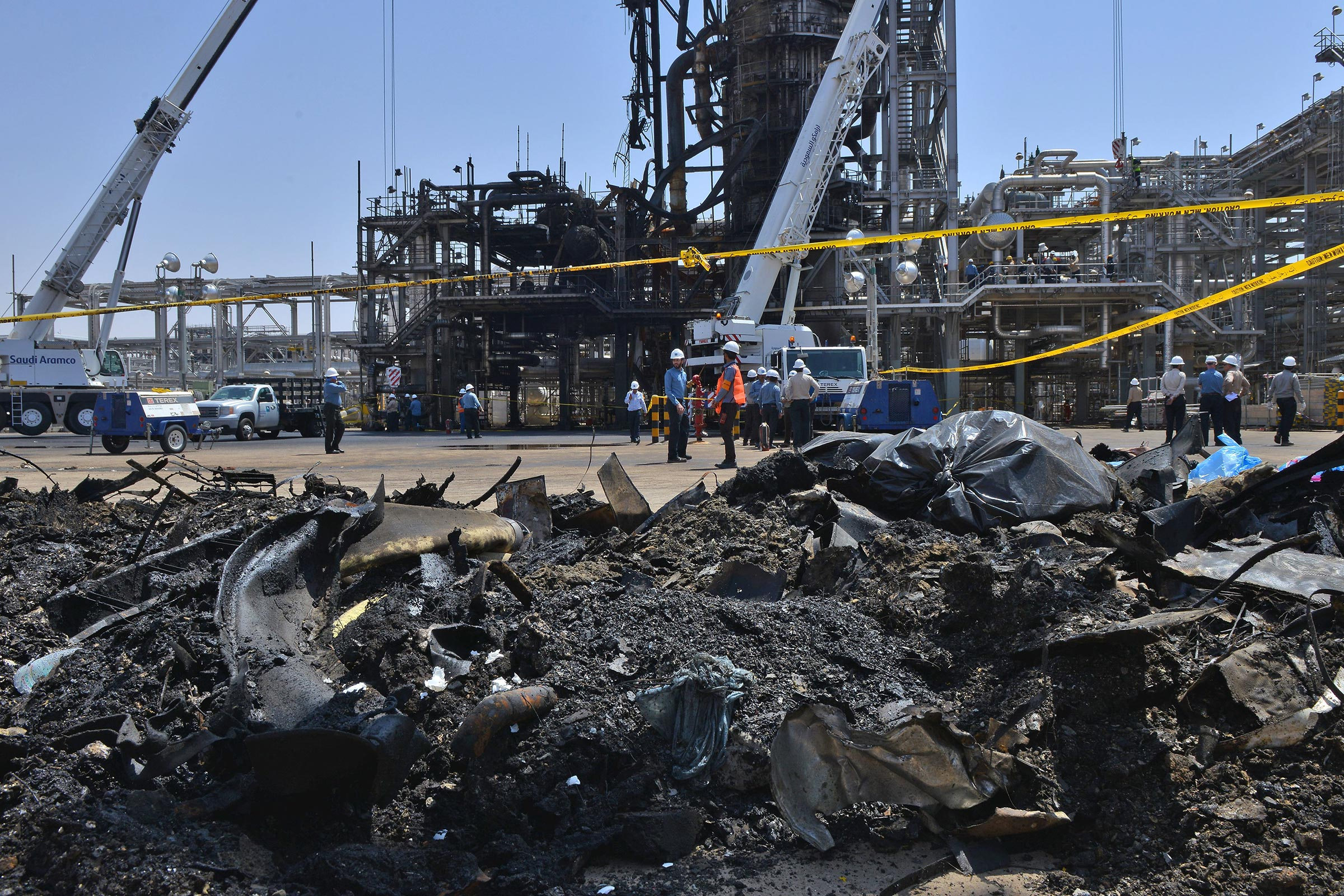 A destroyed installation in Saudi Arabia's Khurais oil processing plant on Sept. 20, 2019.