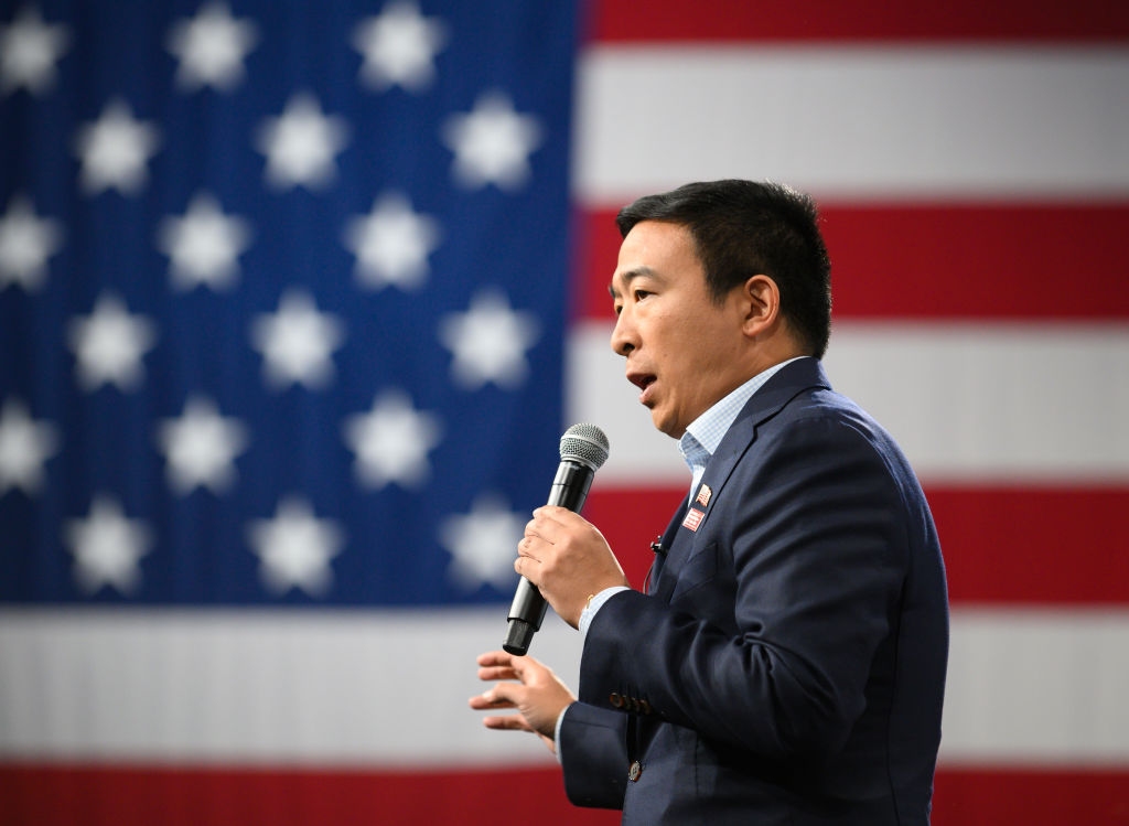 Democratic presidential candidate Andrew Yang speaks during a forum on gun safety at the Iowa Events Center on August 10, 2019 in Des Moines, Iowa.