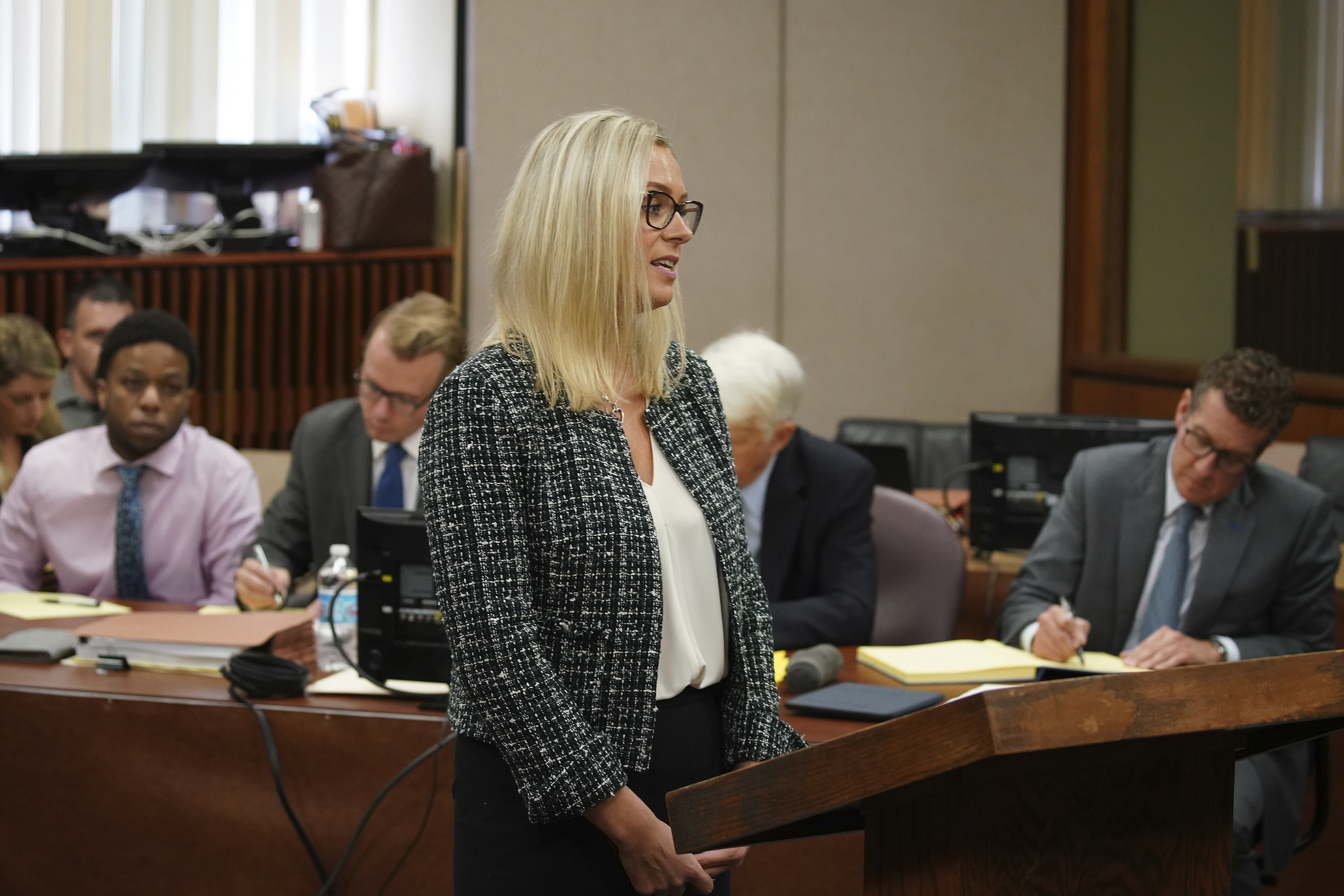 Assistant State's Attorney Margaret Hillmann makes opening statements in the trial of Corey Morgan for the murder of 9-year-old Tyshawn Lee at the Leighton Criminal Court building in Chicago on Tuesday, Sept. 17, 2019.