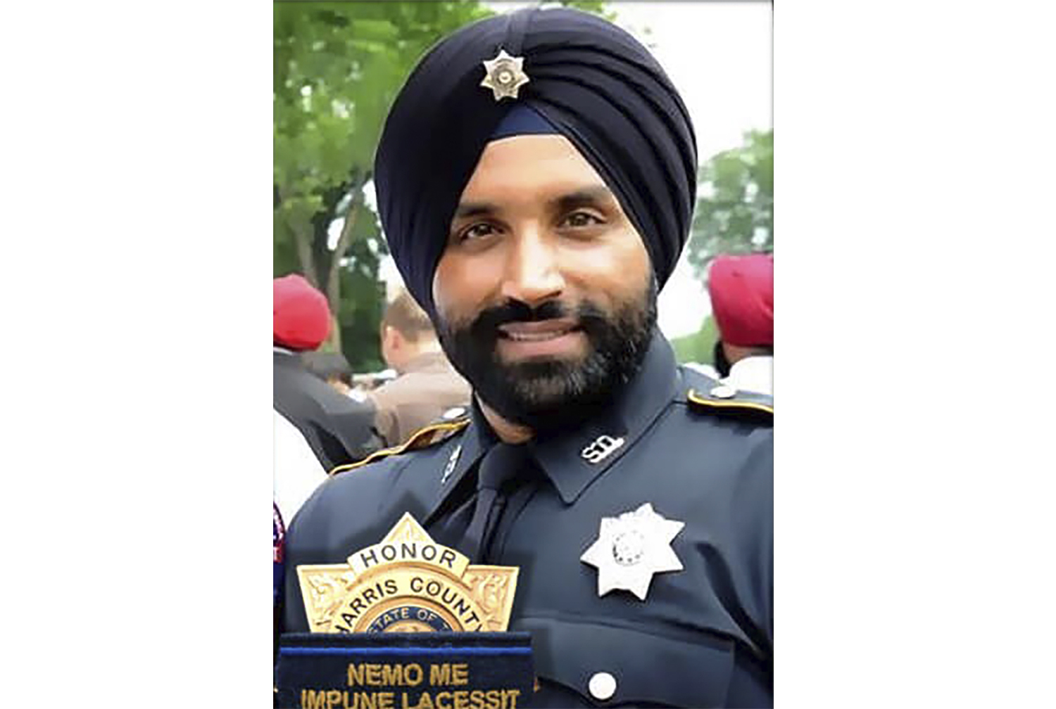 This photo provided by Harris County Sheriff's office shows Deputy Sandeep Dhaliwal. Dhaliwal was shot and killed while making a traffic stop Friday, Sept. 27, 2019 near Houston.