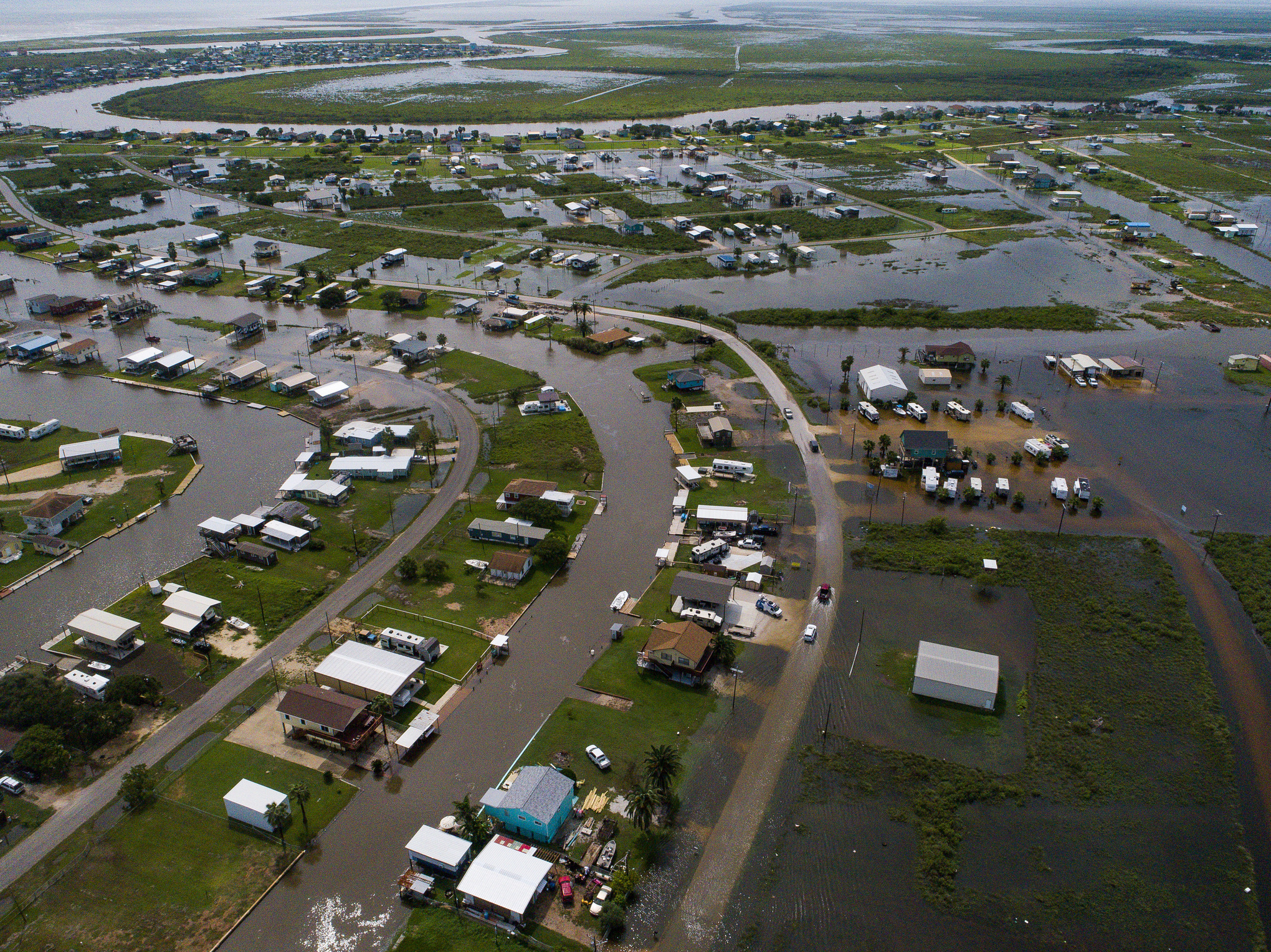 An aerial view of Sargent, Texas, which has been affected by the massive rainfall amounts dumped by Tropical Depression Imelda.