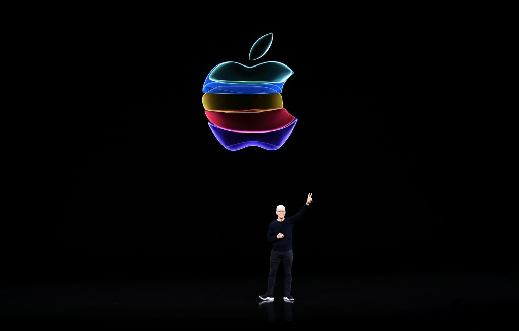 Apple CEO Tim Cook speaks on-stage during a product launch event at Apple's headquarters in Cupertino, California on September 10, 2019.