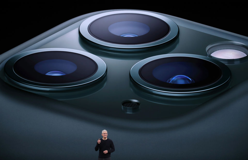 Apple CEO Tim Cook announces the new iPhone 11 Pro as he delivers the keynote address during a special event on September 10, 2019 in the Steve Jobs Theater on Apple's Cupertino, California campus.