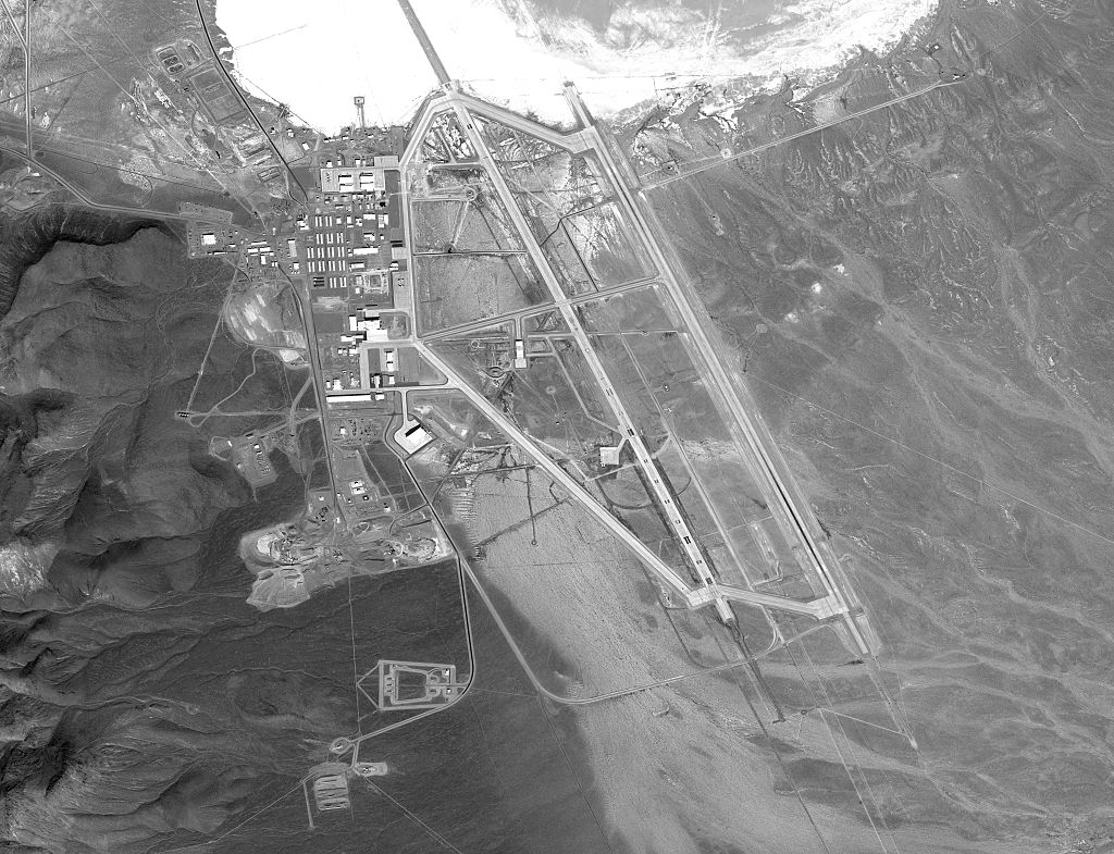 DigitalGlobe via Getty Images satellite image Area 51.  The United States Air Force facility commonly known as Area 51 is a remote detachment of Edwards Air Force Base, within the Nevada Test and Training Range.  (Photo via Getty Images)