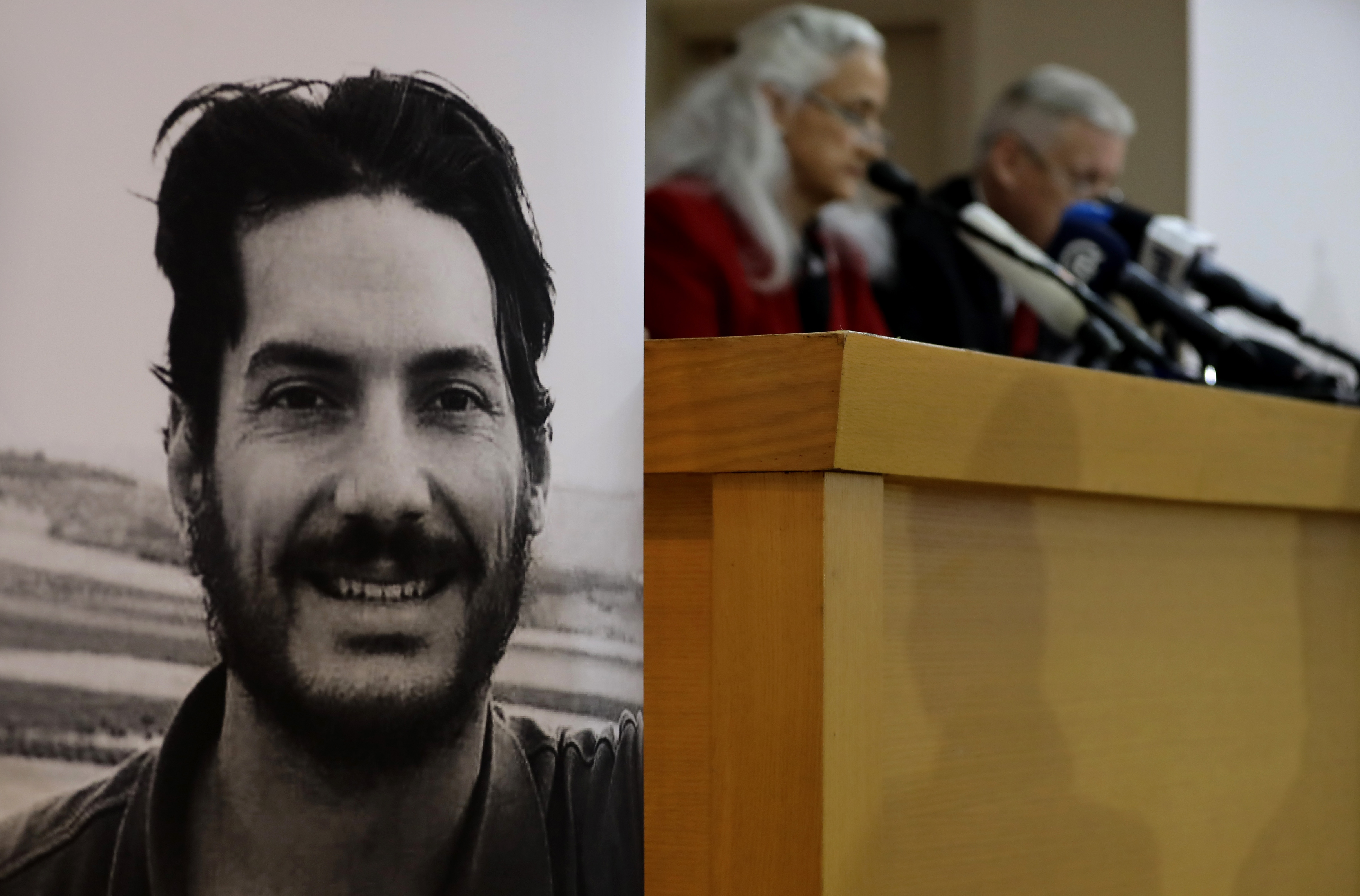 Marc and Debra Tice, the parents of U.S. journalist Austin Tice (portrait L), who was abducted in Syria more than six years ago, give a press conference in the Lebanese capital of Beirut on Dec. 4, 2018.