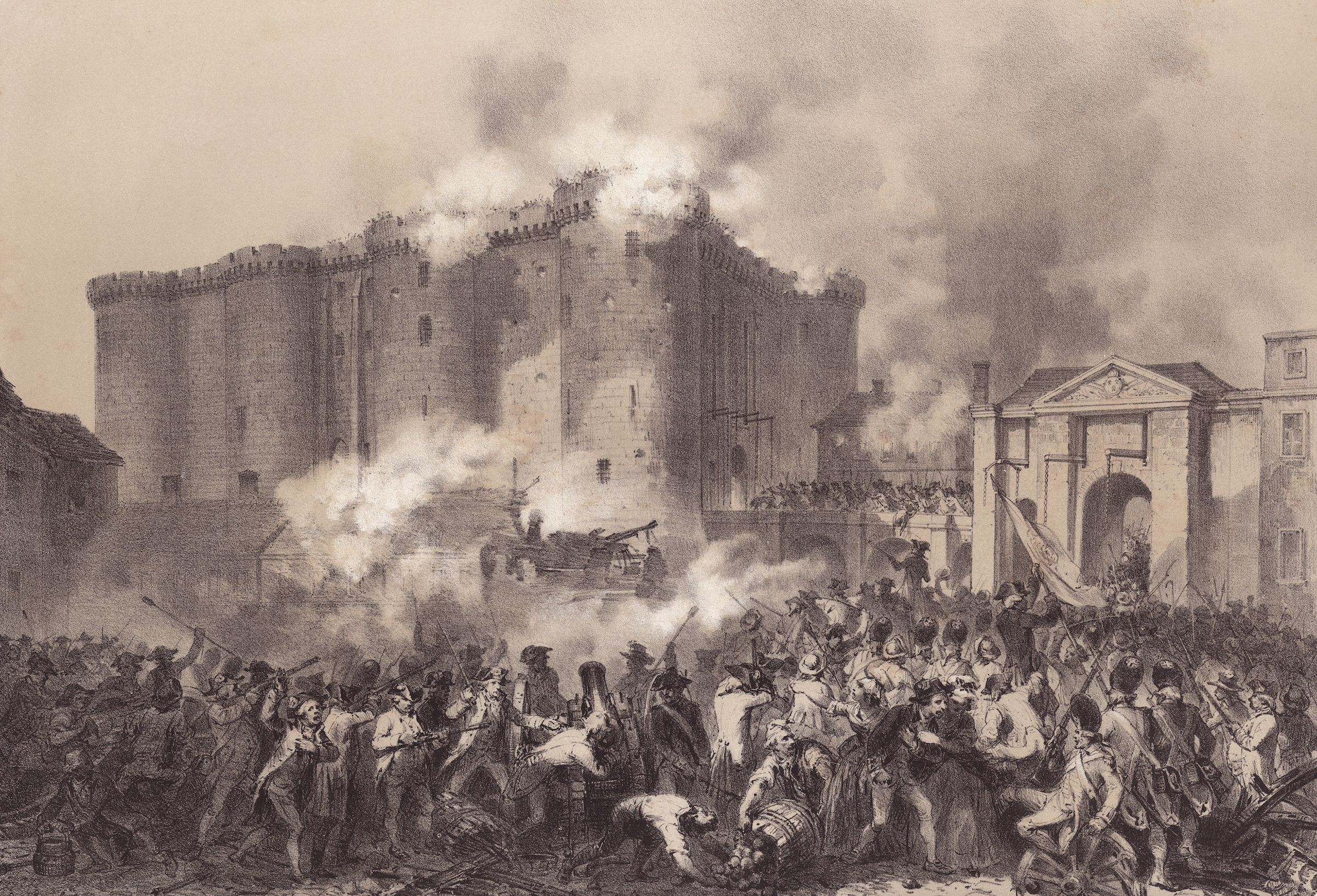 Lithograph of the the storming of the Bastille in on July 14, 1789.