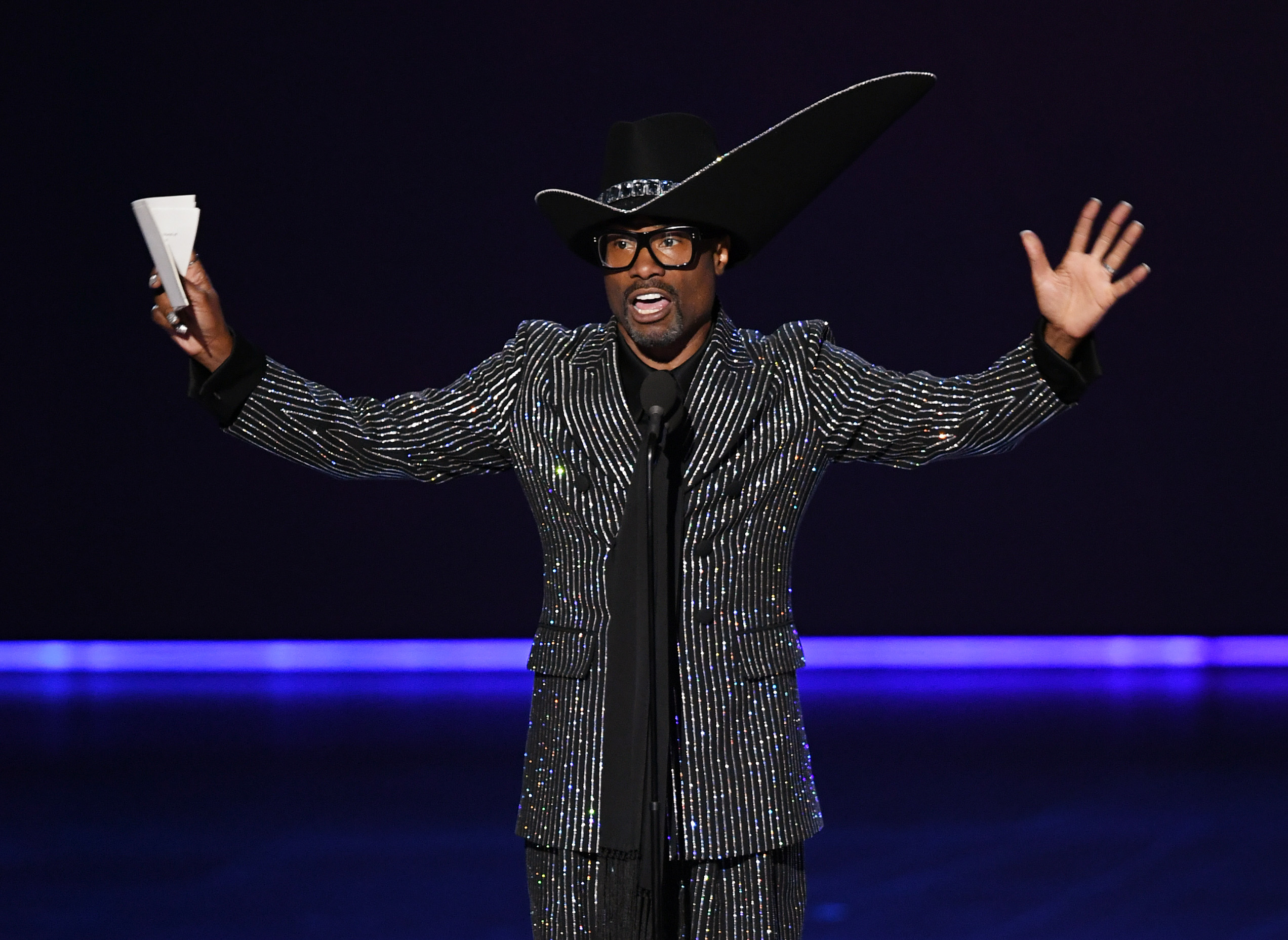 Billy Porter accepts the Emmy for Lead Actor in a Drama for 'Pose' at the 2019 Emmys.