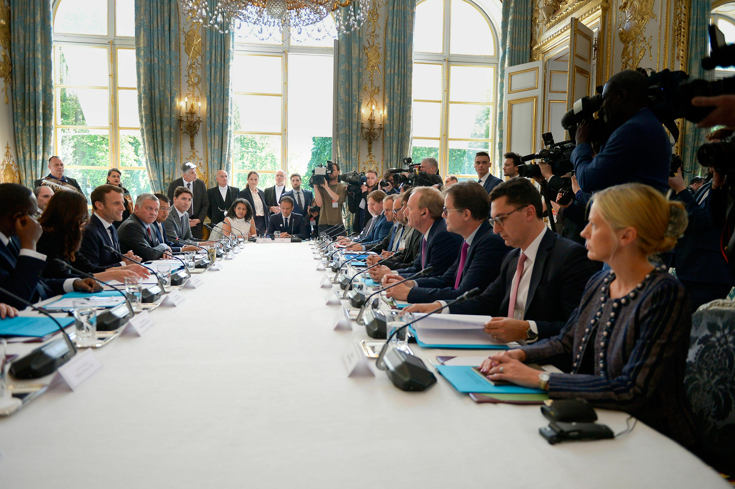 Smith, fourth from bottom right, at a Tech for Good summit with world leaders and top business executives, hosted by French President Emmanuel Macron at the Élysée Palace on May 15