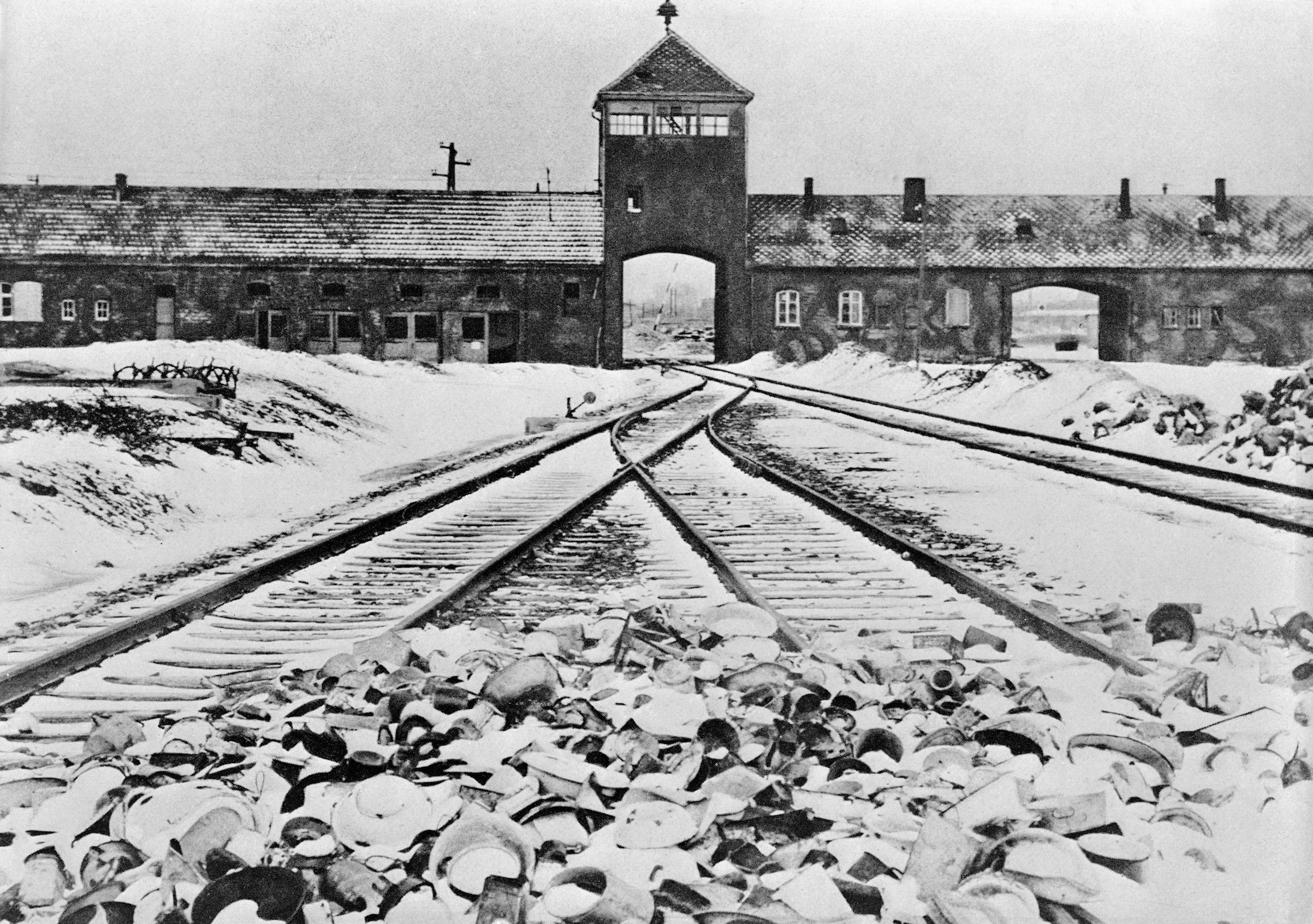 Entrance to the German concentration camp of Auschwitz-Birkenau in Poland. Undated photograph.
