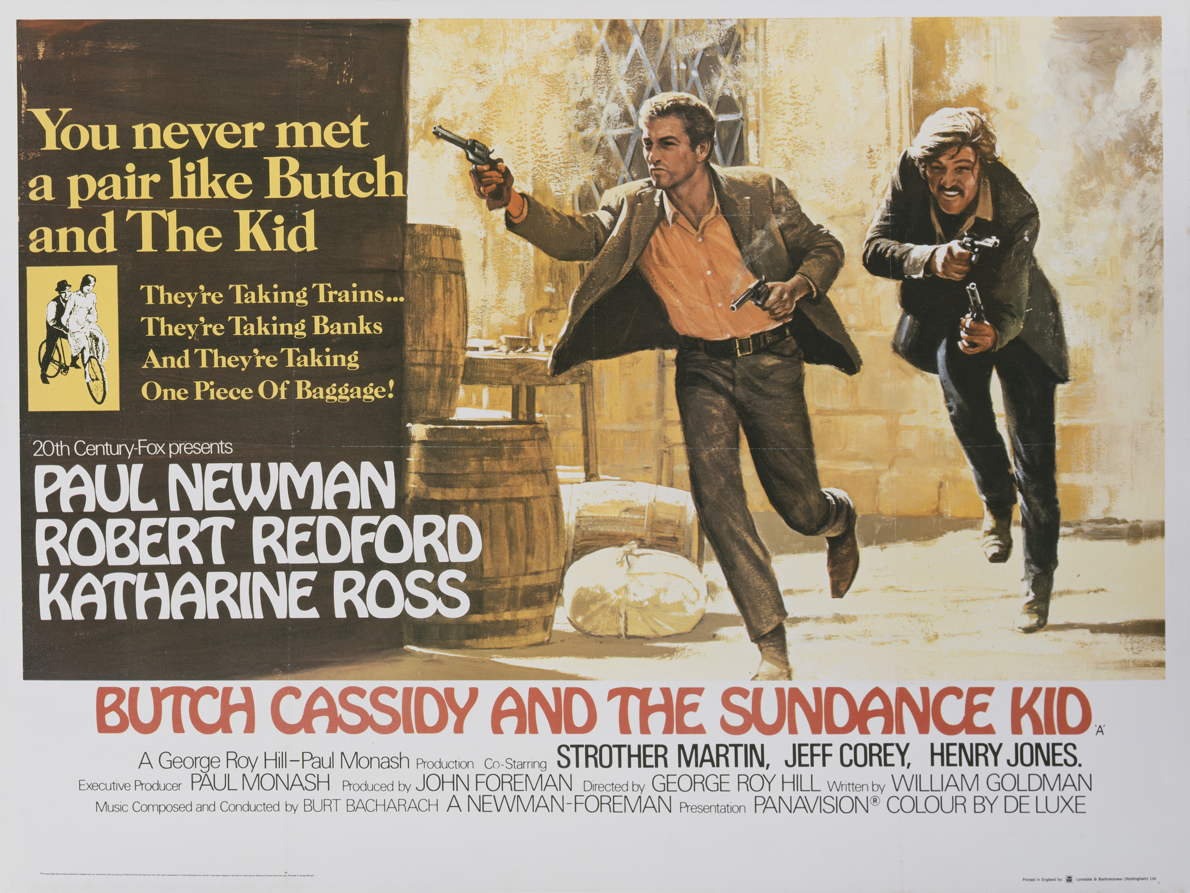 A poster for George Roy Hill's 1969 biopic 'Butch Cassidy and the Sundance Kid' starring Paul Newman and Robert Redford.