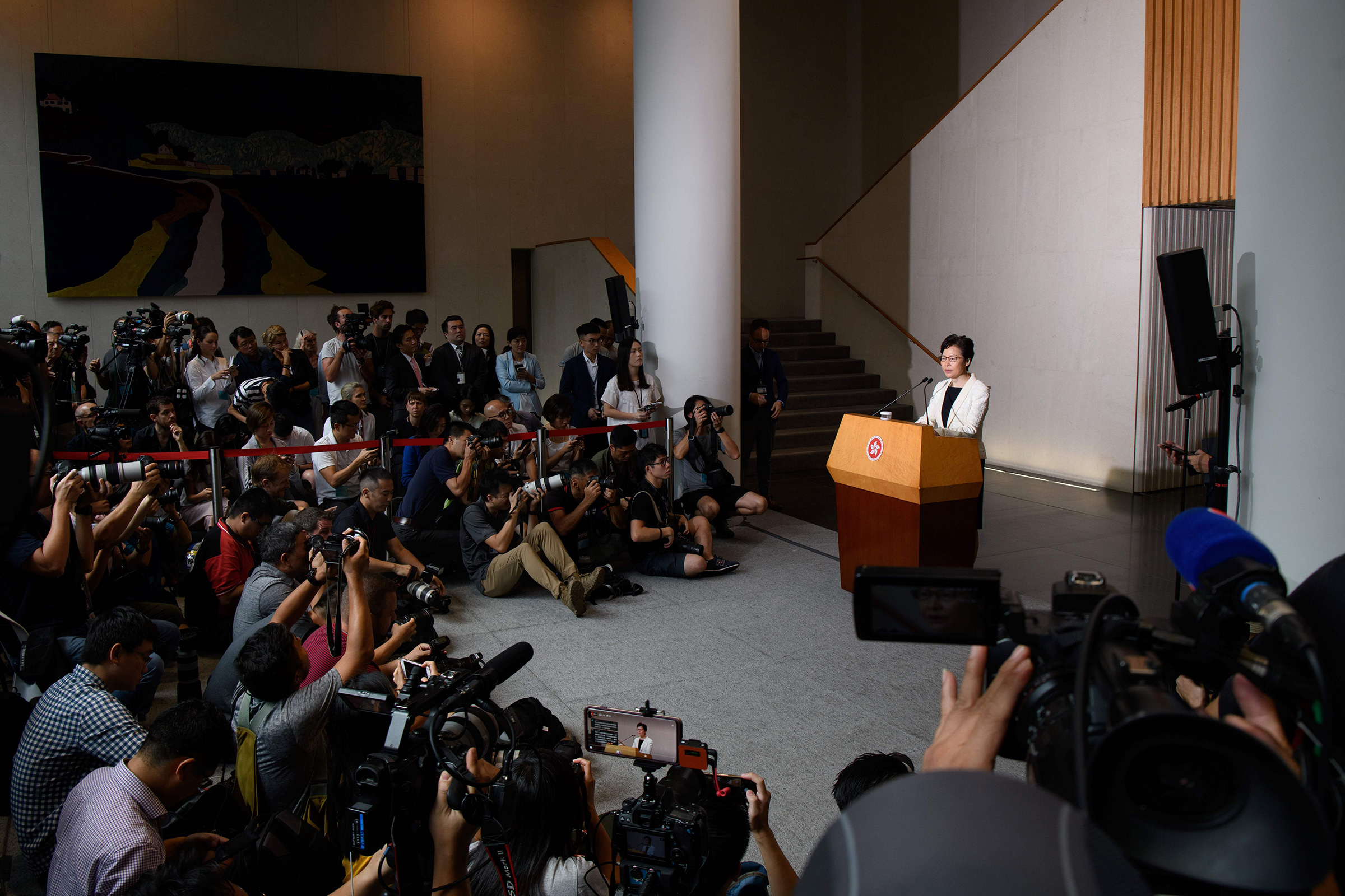 Hong Kong Chief Executive Carrie Lam speaks to the media during her weekly press conference in Hong Kong on Sept. 3, 2019.