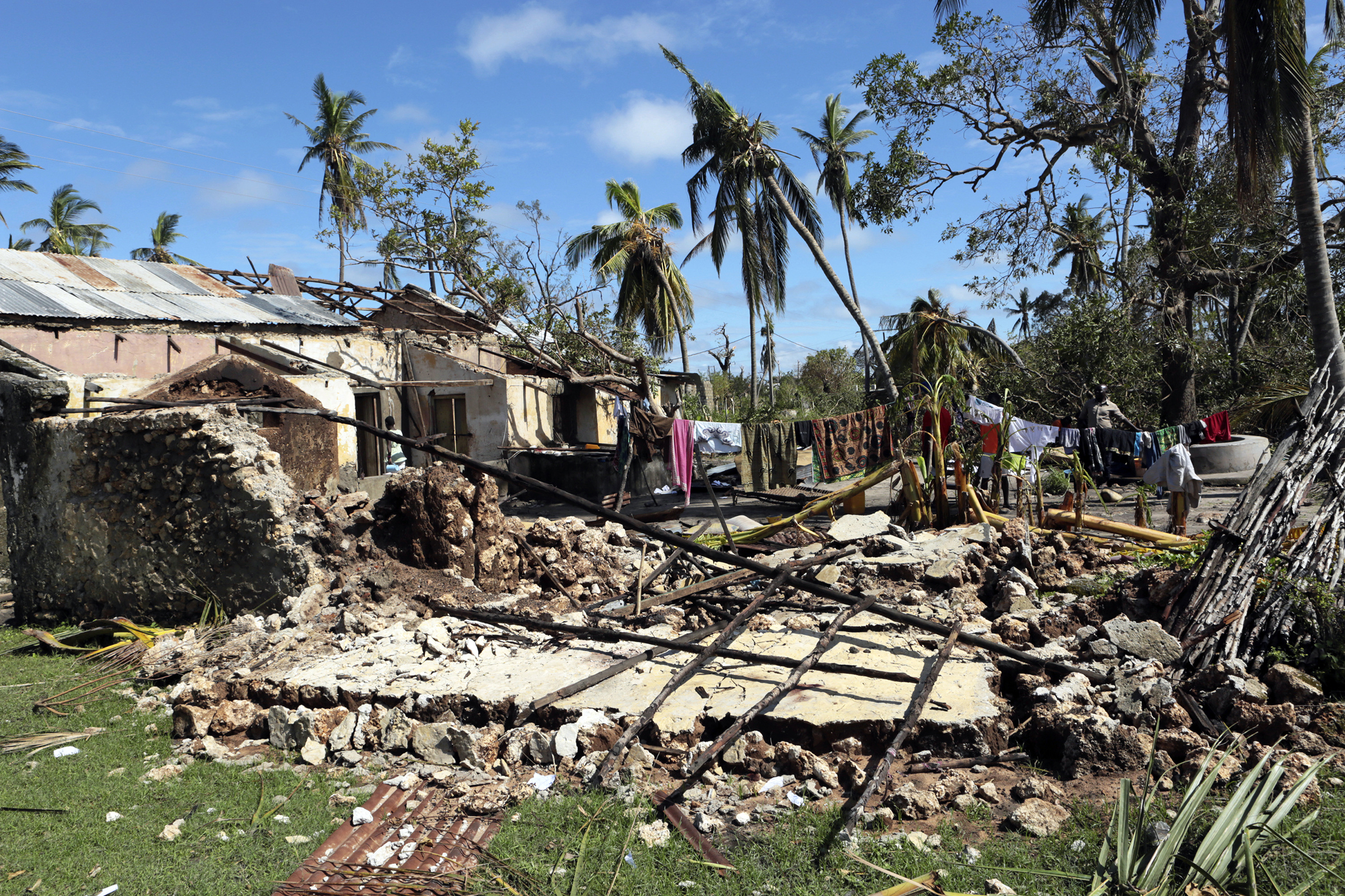Clothes are seen on a drying line at a house damaged by Cyclone Kenneth in Ibo island north of Pemba city in Mozambique on May, 1, 2019.