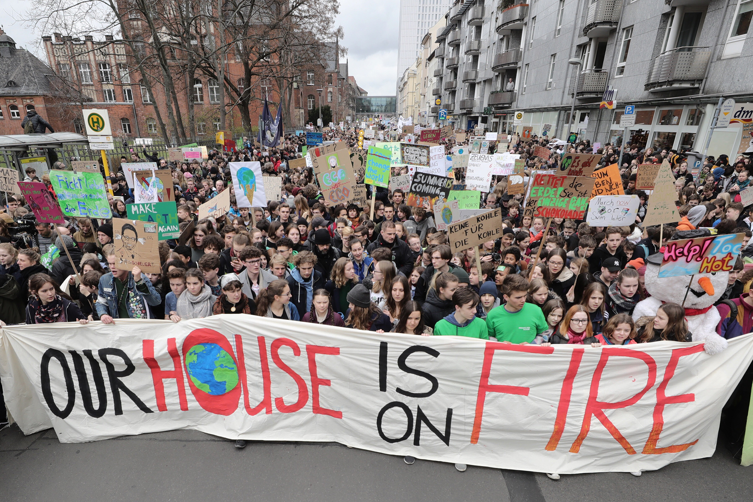 Greta Thunberg at a  Fridays for Future  climate demonstration on March 29, 2019 in Berlin, Germany.