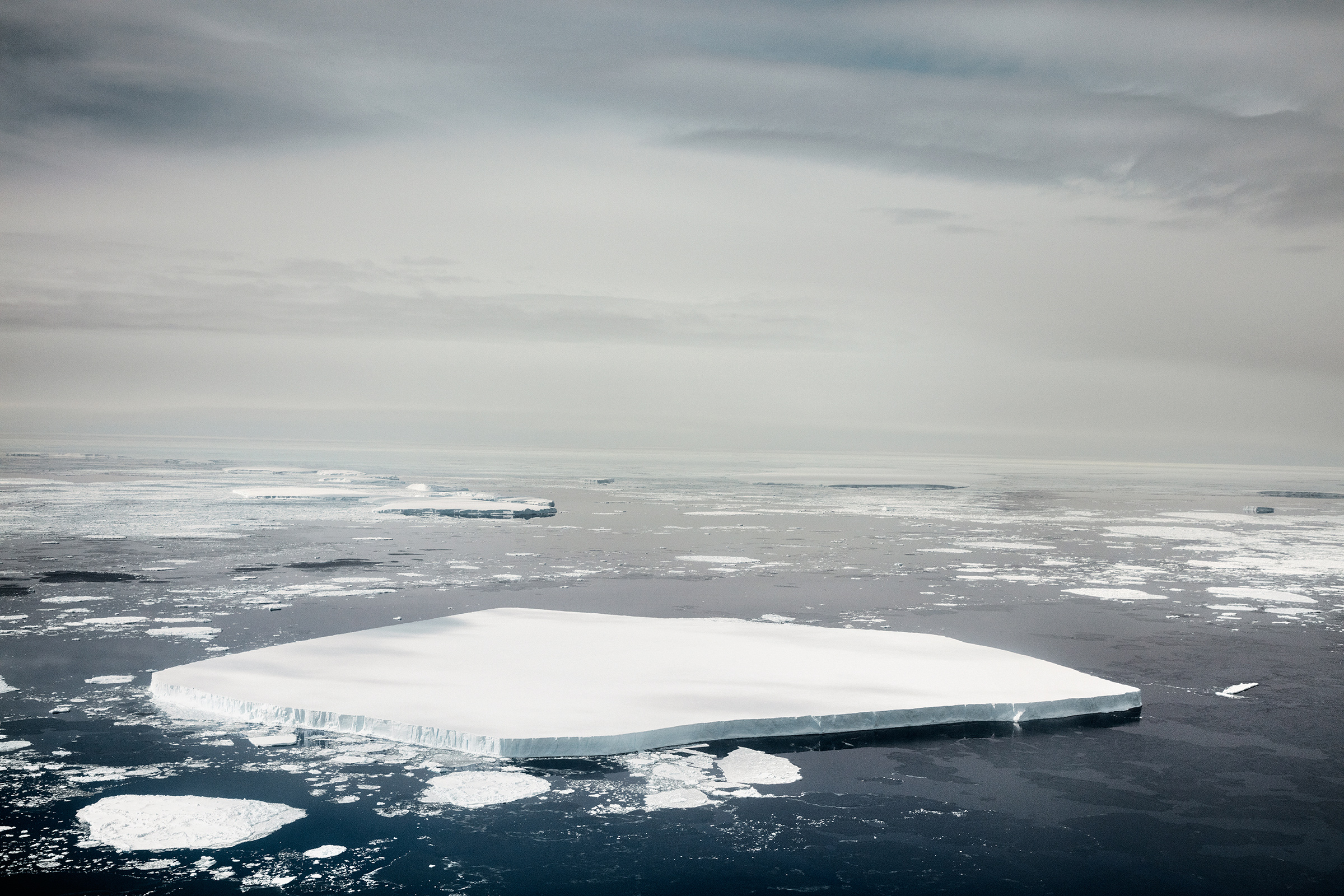 A massive chunk of free-floating sea ice is seen from above during NASA's IceBridge mission in November 2017.
