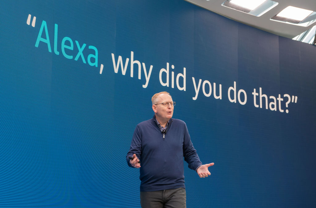 Amazon's device chief Dave Limp demonstrates a new feature where users can ask language assistant Alexa why she did something when they can't understand the actions of the software.