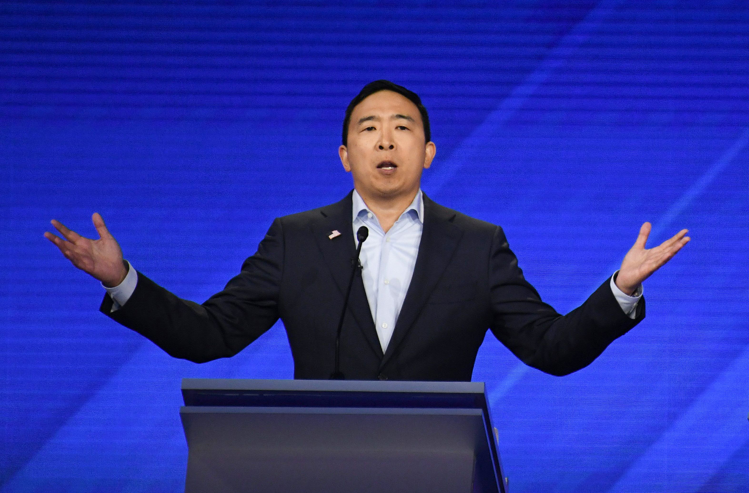 Democratic presidential hopeful Tech entrepreneur Andrew Yang speaks during the third Democratic primary debate of the 2020 presidential campaign season at Texas Southern University in Houston, Texas on September 12, 2019.