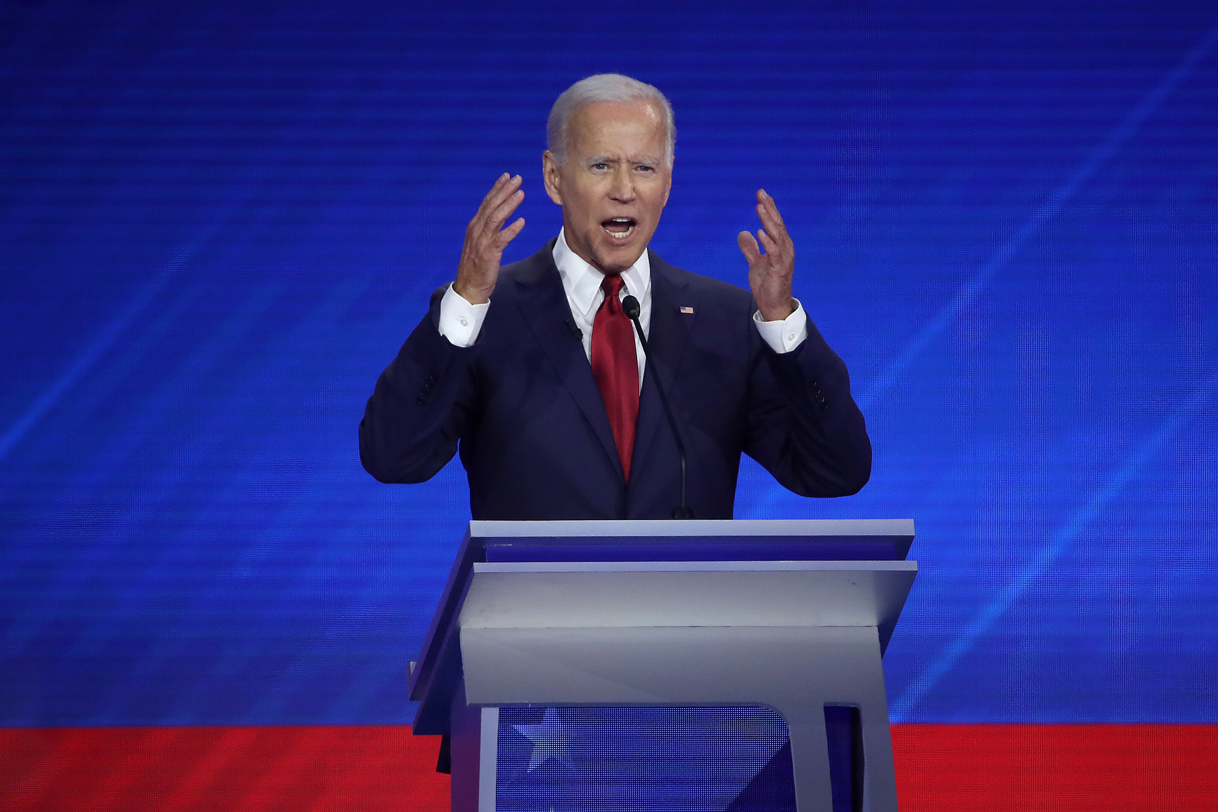 Democratic presidential candidate former Vice President Joe Biden speaks during the Democratic Presidential Debate at Texas Southern University's Health and PE Center on September 12, 2019 in Houston, Texas.