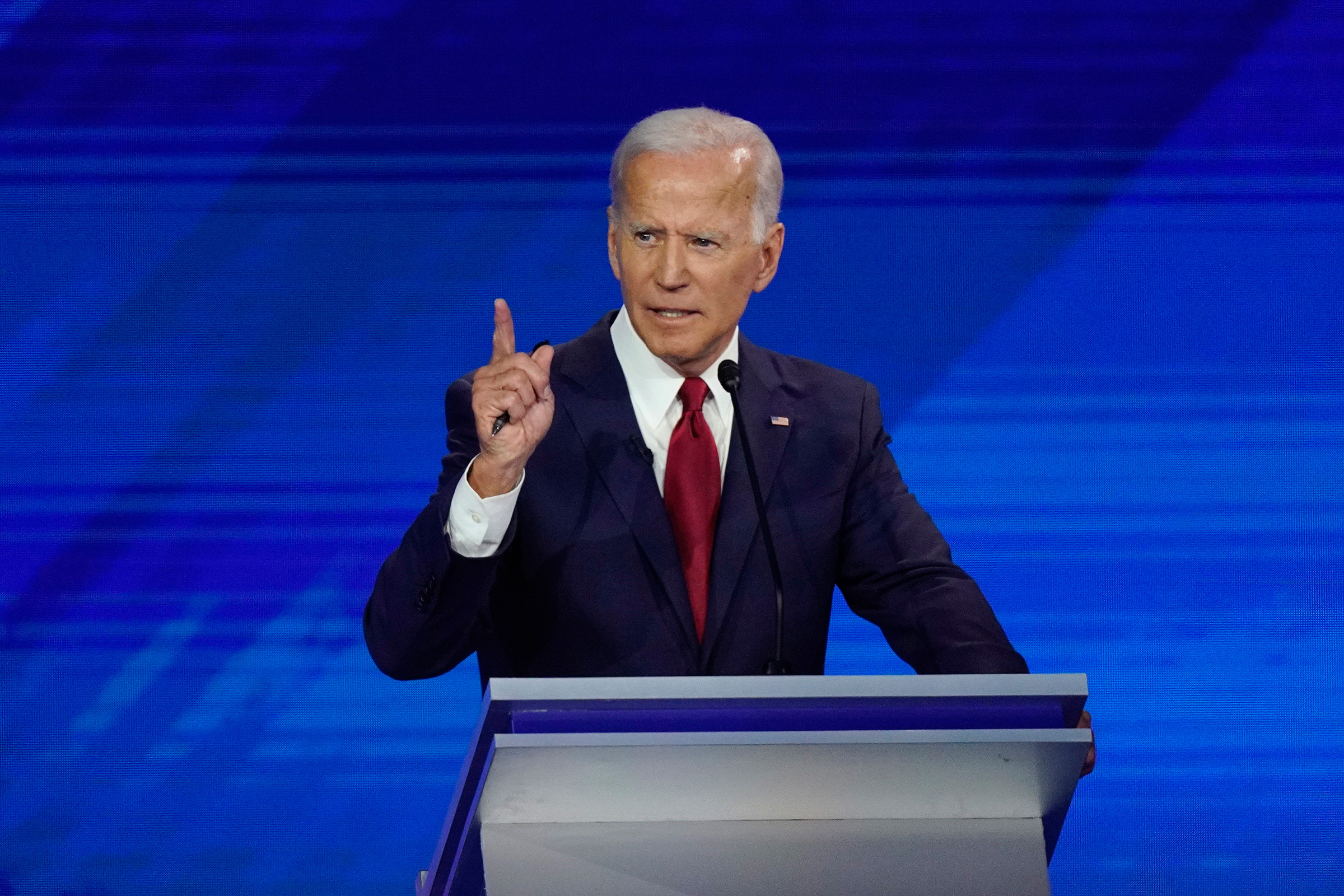 Former Vice President Joe Biden responds to a question Sept. 12, 2019, during a Democratic presidential primary debate hosted by ABC at Texas Southern University in Houston.