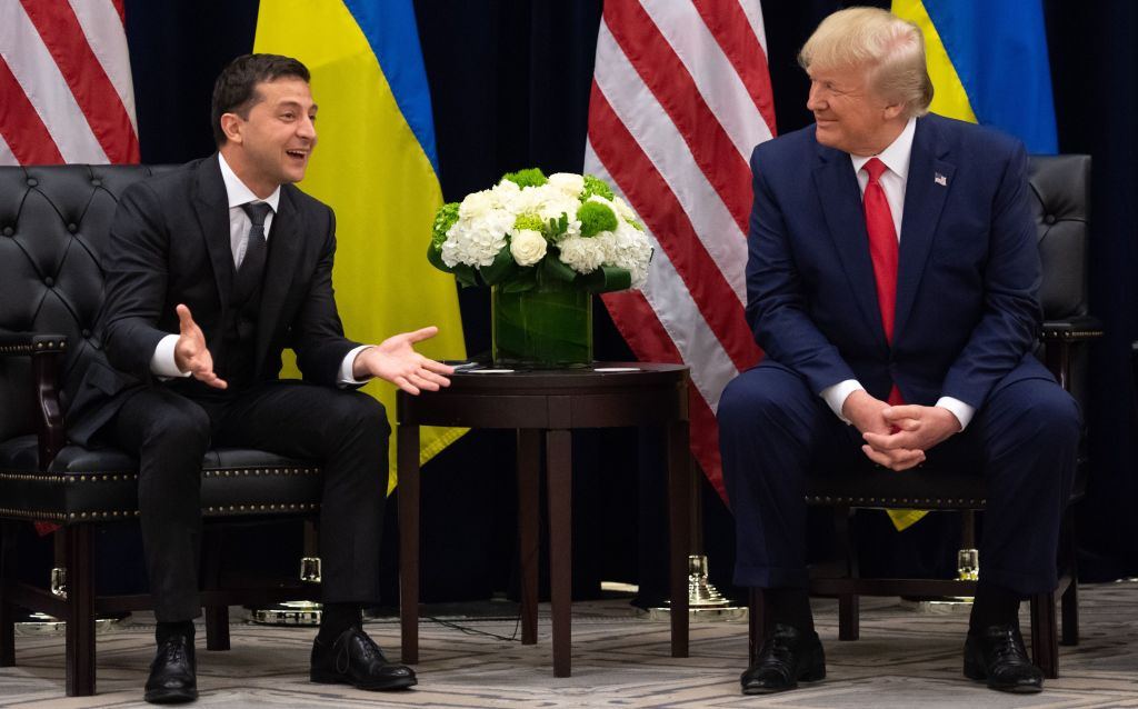 U.S. President Donald Trump and Ukrainian President Volodymyr Zelensky meet in New York on September 25, 2019, on the sidelines of the United Nations General Assembly.