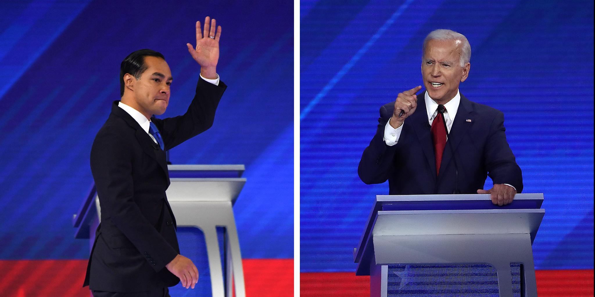 Democratic presidential hopeful former housing secretary Julian Castro and Democratic presidential candidate former Vice President Joe Biden