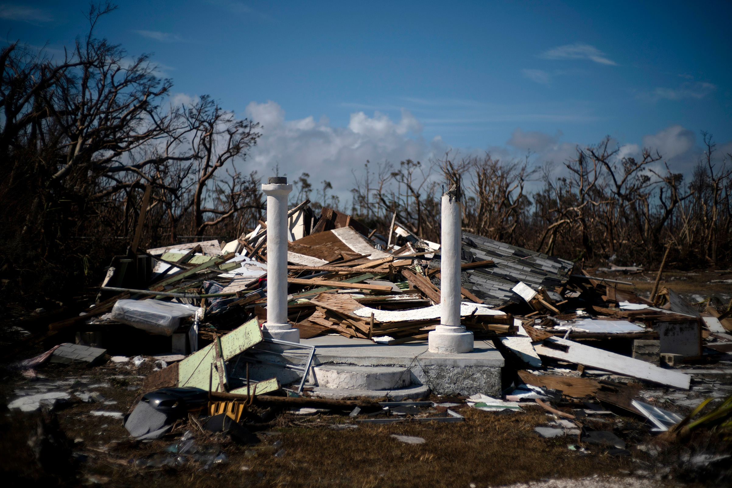 The portico of a house destroyed by Hurricane Dorian is the only thing that remains of the structure, destroyed by Hurricane Dorian, in High Rock, Grand Bahama, Bahamas, Sept. 5, 2019.
