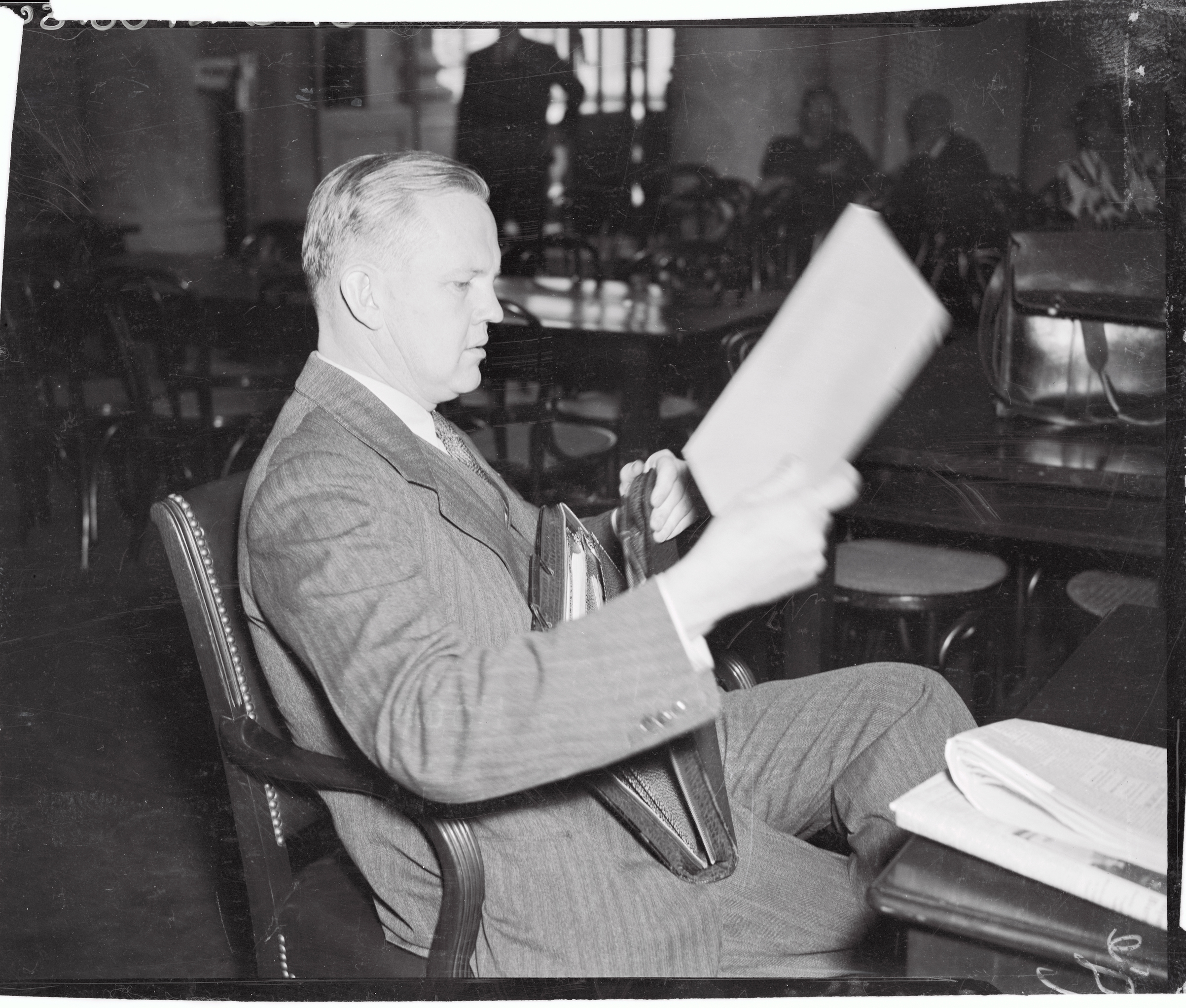 William Alfred Eddy, then president of Hobart and William Smith Colleges, at Geneva, N.Y., as he testified before the Senate Judiciary Committee in Washington, D.C., in 1937.