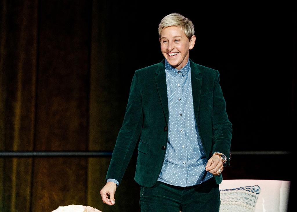 Comedian Ellen DeGeneres seen onstage during  A Conversation With Ellen DeGeneres  at Rogers Arena on October 19, 2018 in Vancouver, Canada.