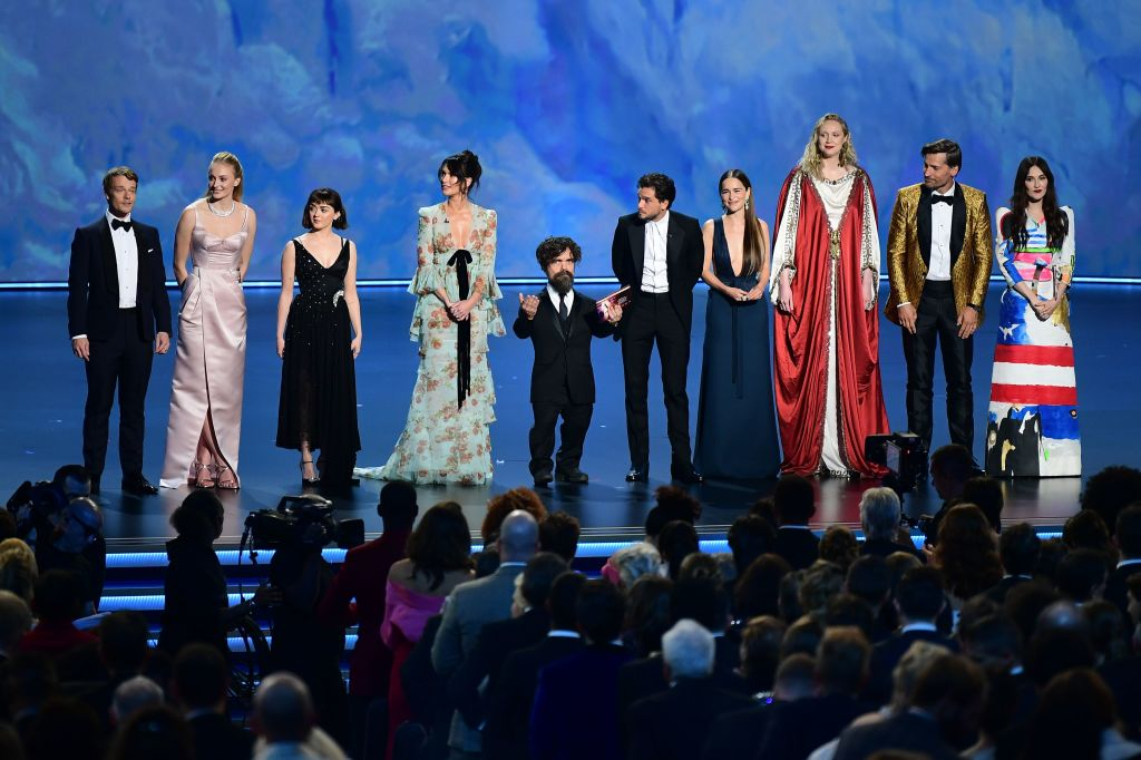 The cast of  Game of Thrones  speaks onstage during the 71st Emmy Awards at the Microsoft Theatre in Los Angeles on September 22, 2019. (Photo by Frederic J. BROWN / AFP)        (Photo credit should read FREDERIC J. BROWN/AFP/Getty Images)