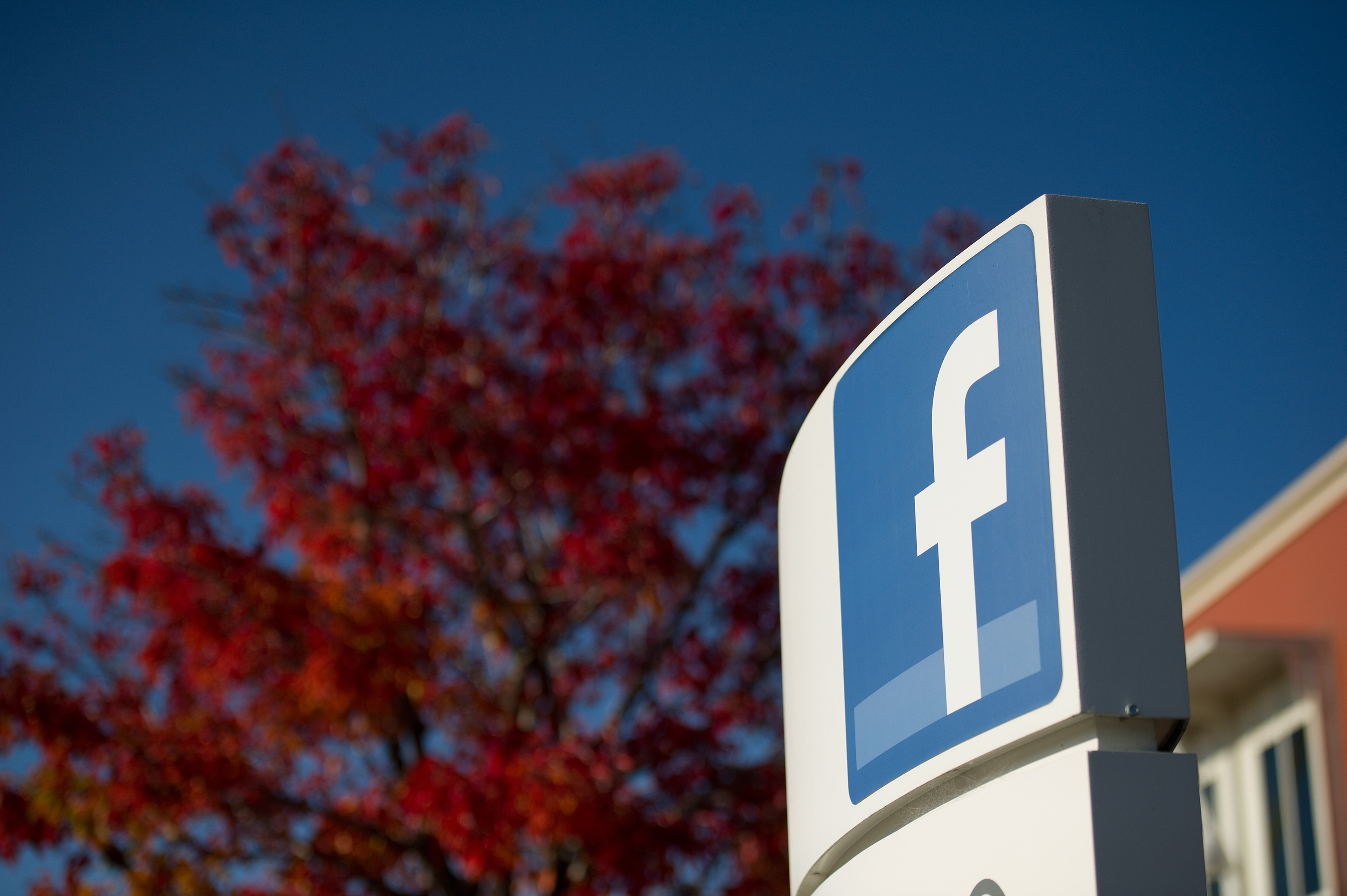 Facebook Inc. signage is displayed outside the company's campus in Menlo Park, California, on Friday, Dec. 2, 2011. On Thursday, Sept. 19, 2019, the company confirmed an employee died in an apparent suicide after jumping from the fourth floor of a building at its headquarters.