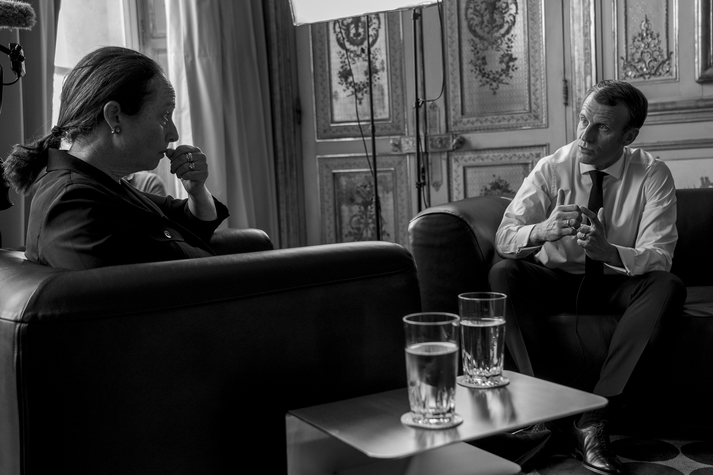 French President Emmanuel Macron is interviewed by TIME's Vivienne Walt in Paris.