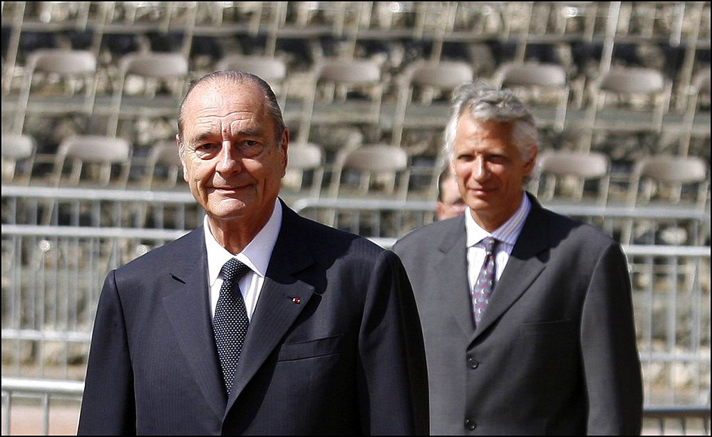 President Jacques Chirac and his then prime minister Dominique de Villepin in Paris, France on June 18, 2006