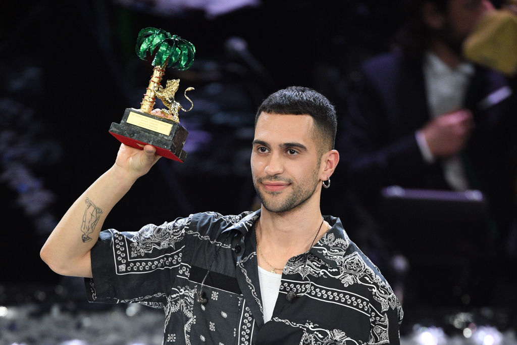 Mahmood with his winner's award on stage during the closing night of the 69th Sanremo Music Festival at Teatro Ariston on February 09, 2019 in Sanremo, Italy.