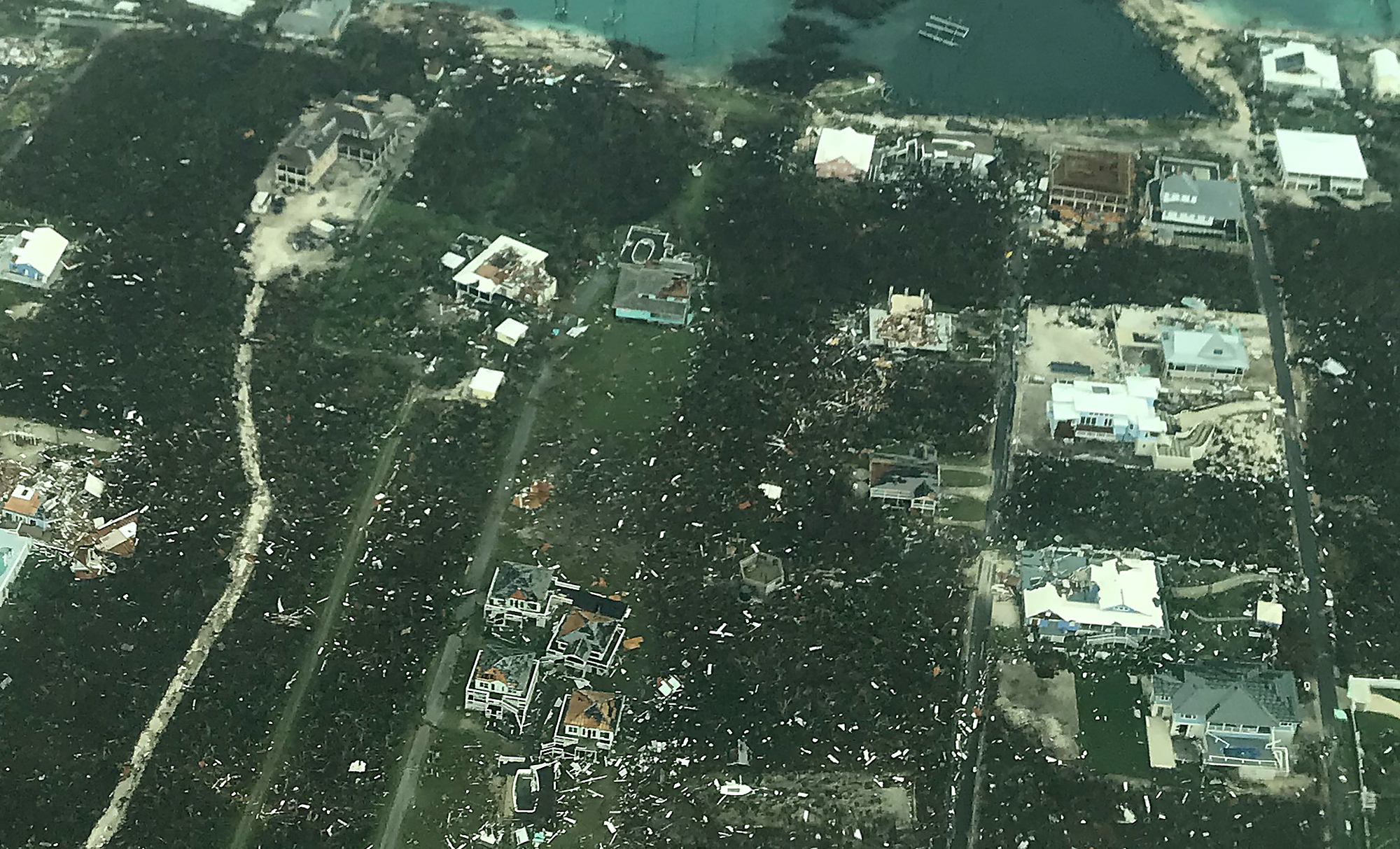 In this handout aerial photo provided by the Head Knowles Foundation, damage is seen from Hurricane Dorian on Abaco Island on September 3, 2019 in the Bahamas.