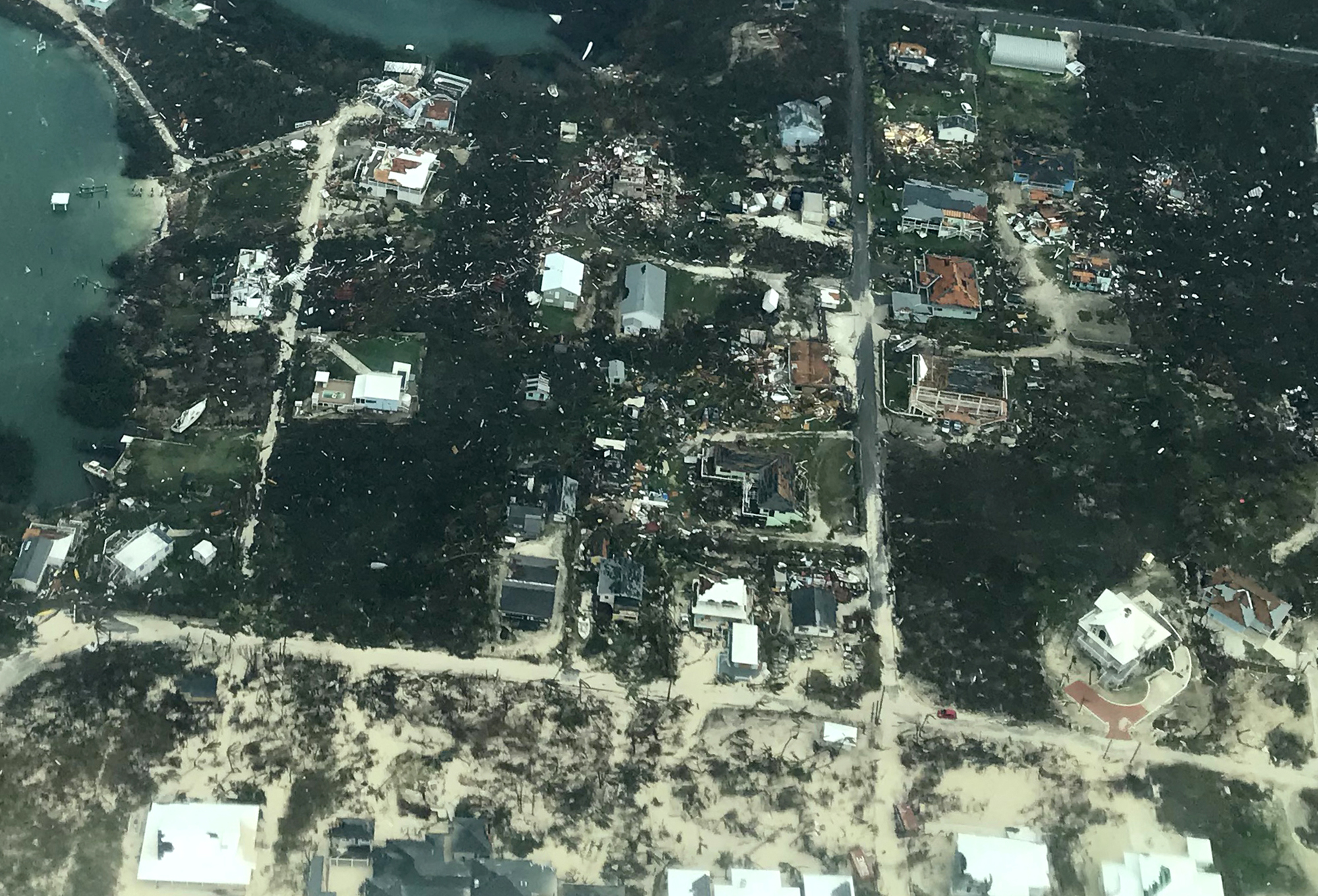 In this handout aerial photo provided by the HeadKnowles Foundation, damage is seen from Hurricane Dorian on Abaco Island on September 3, 2019 in the Bahamas.