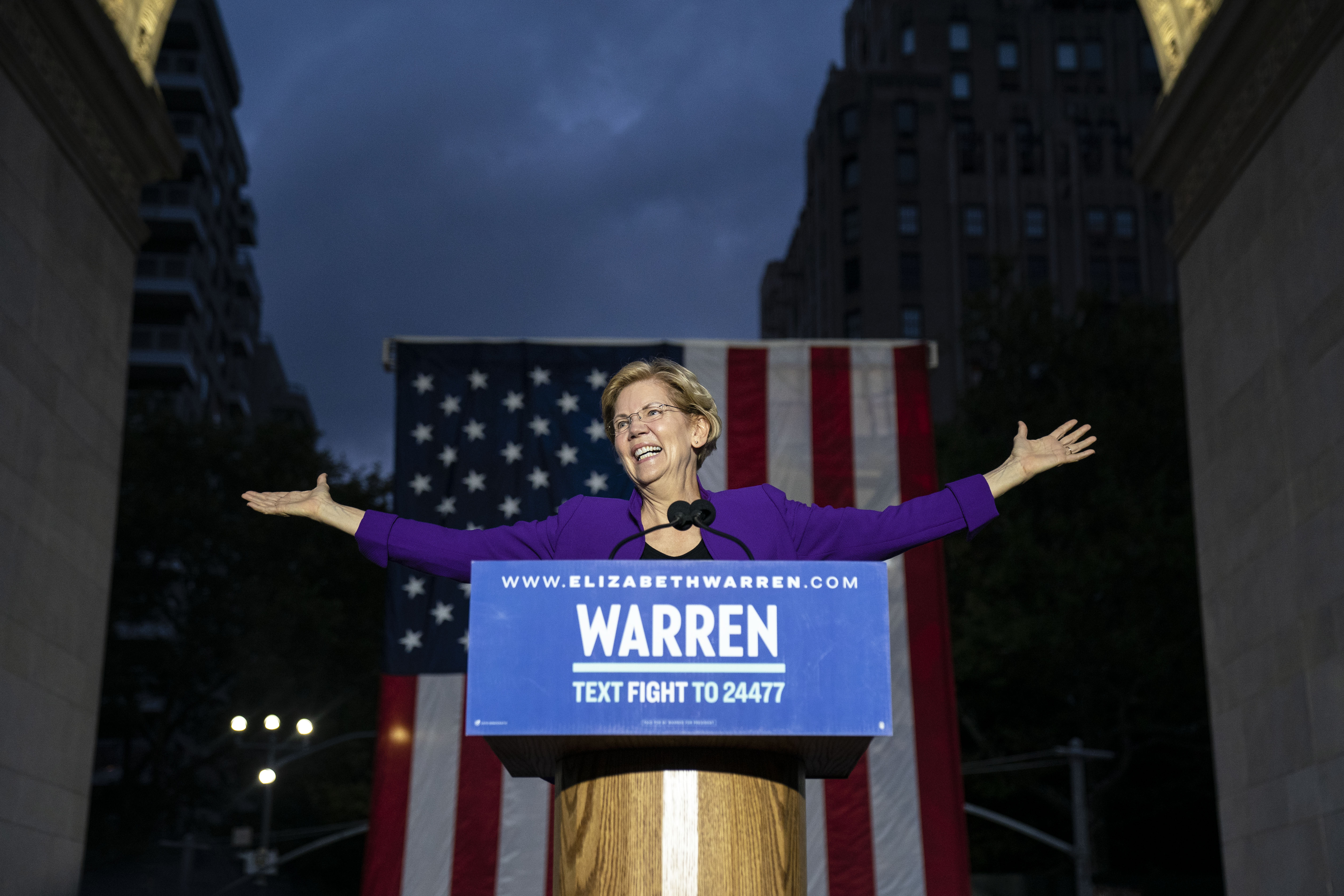 Democratic presidential candidate Sen. Elizabeth Warren (D-MA) arrives for a rally in Washington Square Park on September 16, 2019 in New York City.