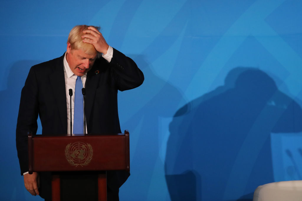 United Kingdom Prime Minister Boris Johnson  at the United Nations (UN) Climate Action Summit on Sept. 23, 2019 in New York City