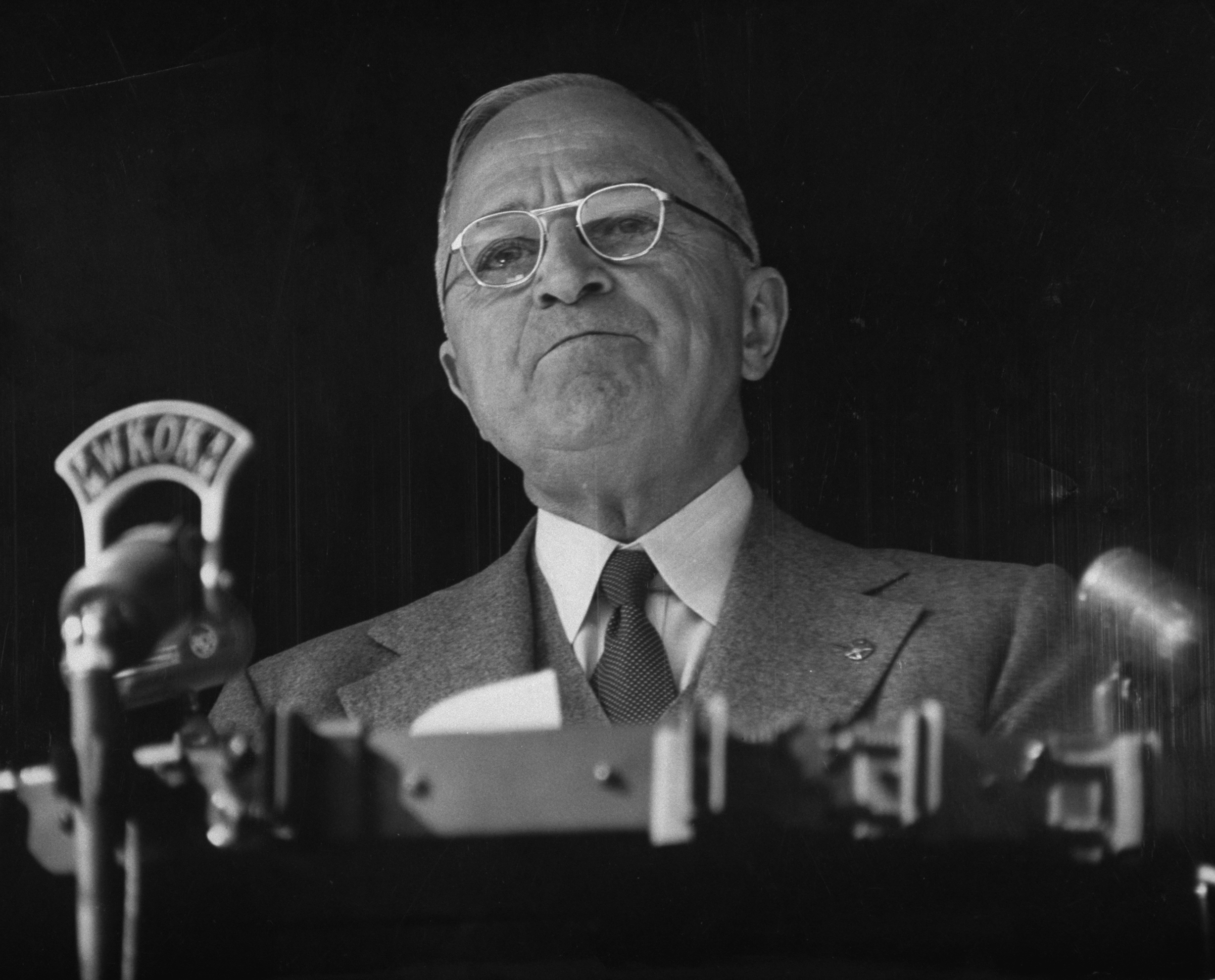 Harry S. Truman making a campaign speech in 1952