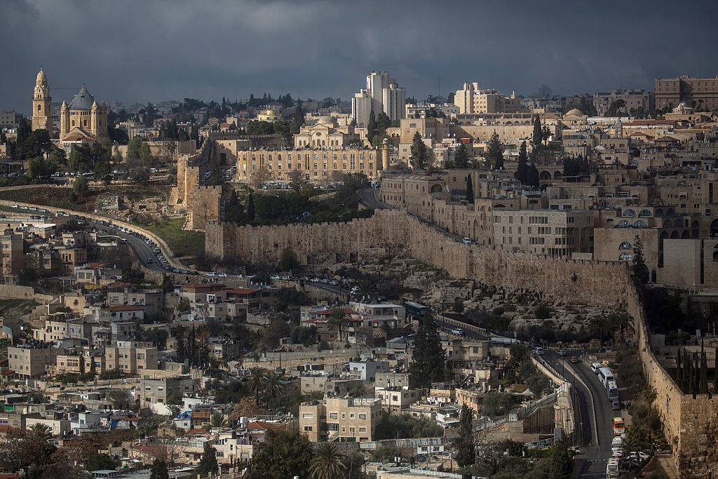 The Old City is seen from the Mount of Olives on January 13, 2017 in Jerusalem, Israel.