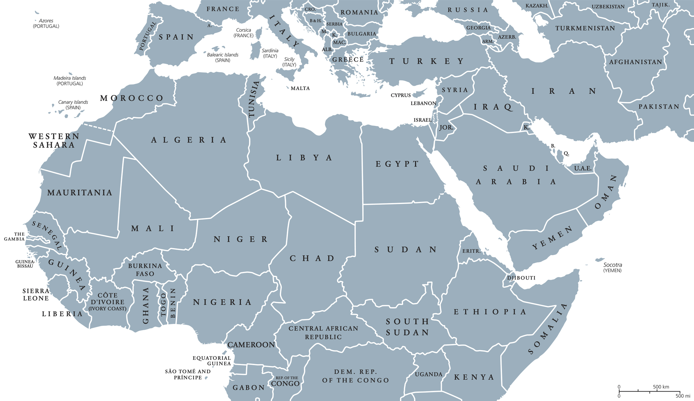 North Africa and Middle East political map with countries and borders.