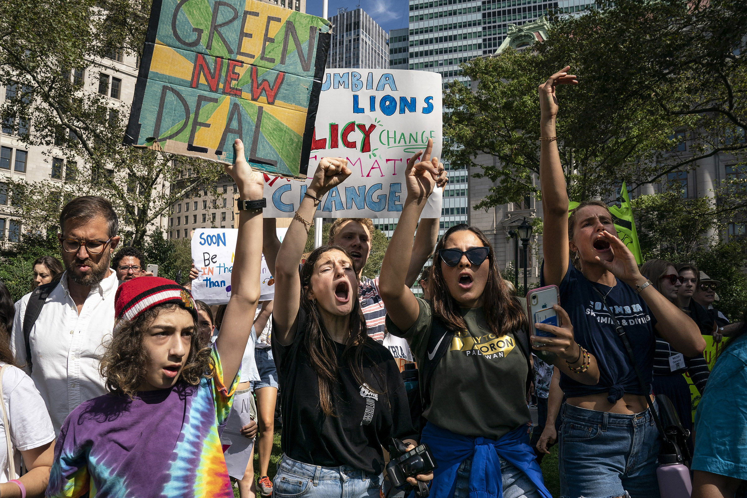 Young activists and their supporters rally for action on climate change on September 20, 2019 in New York City.