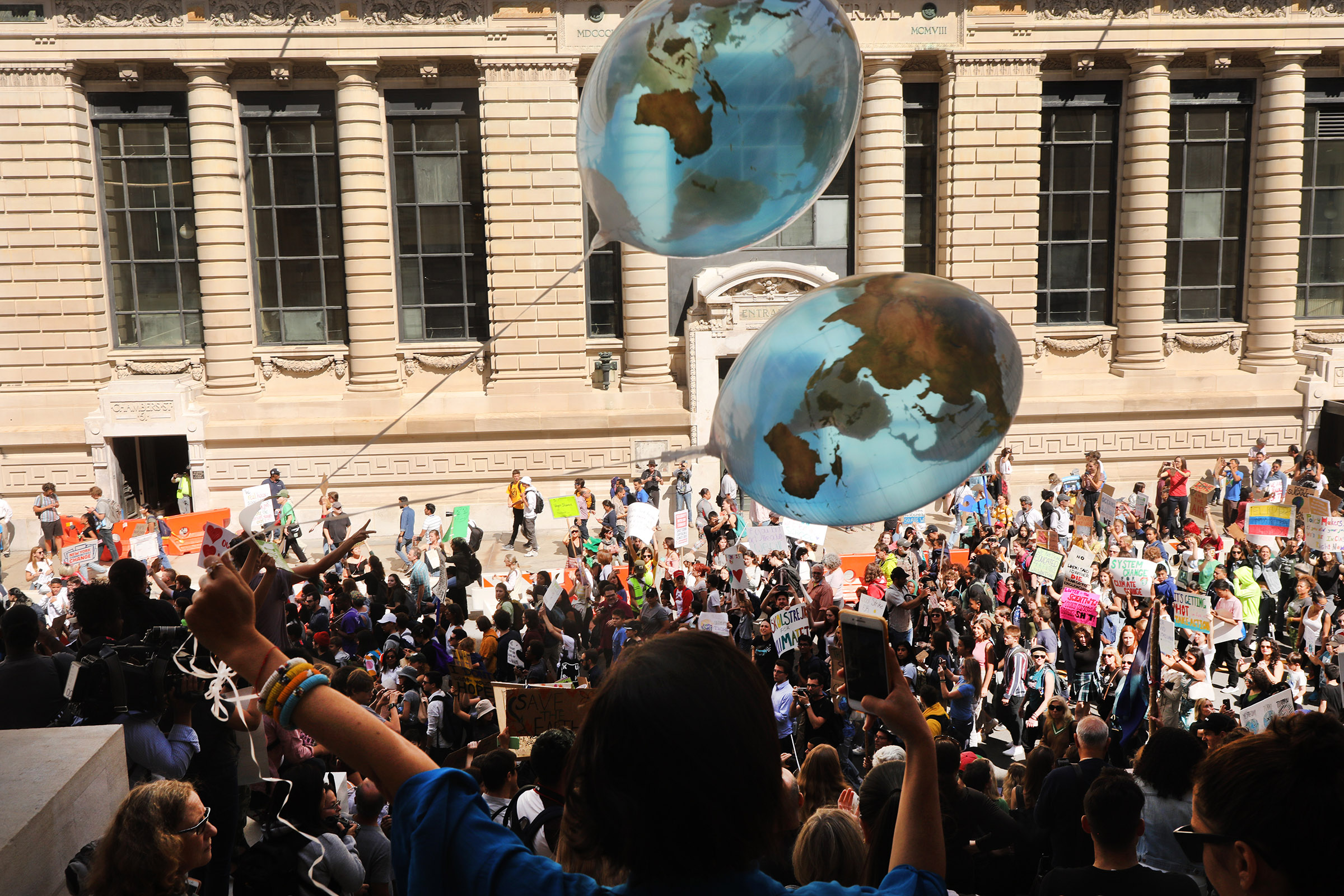 People march to demand action on the global climate crisis on September 20, 2019 in New York City.
