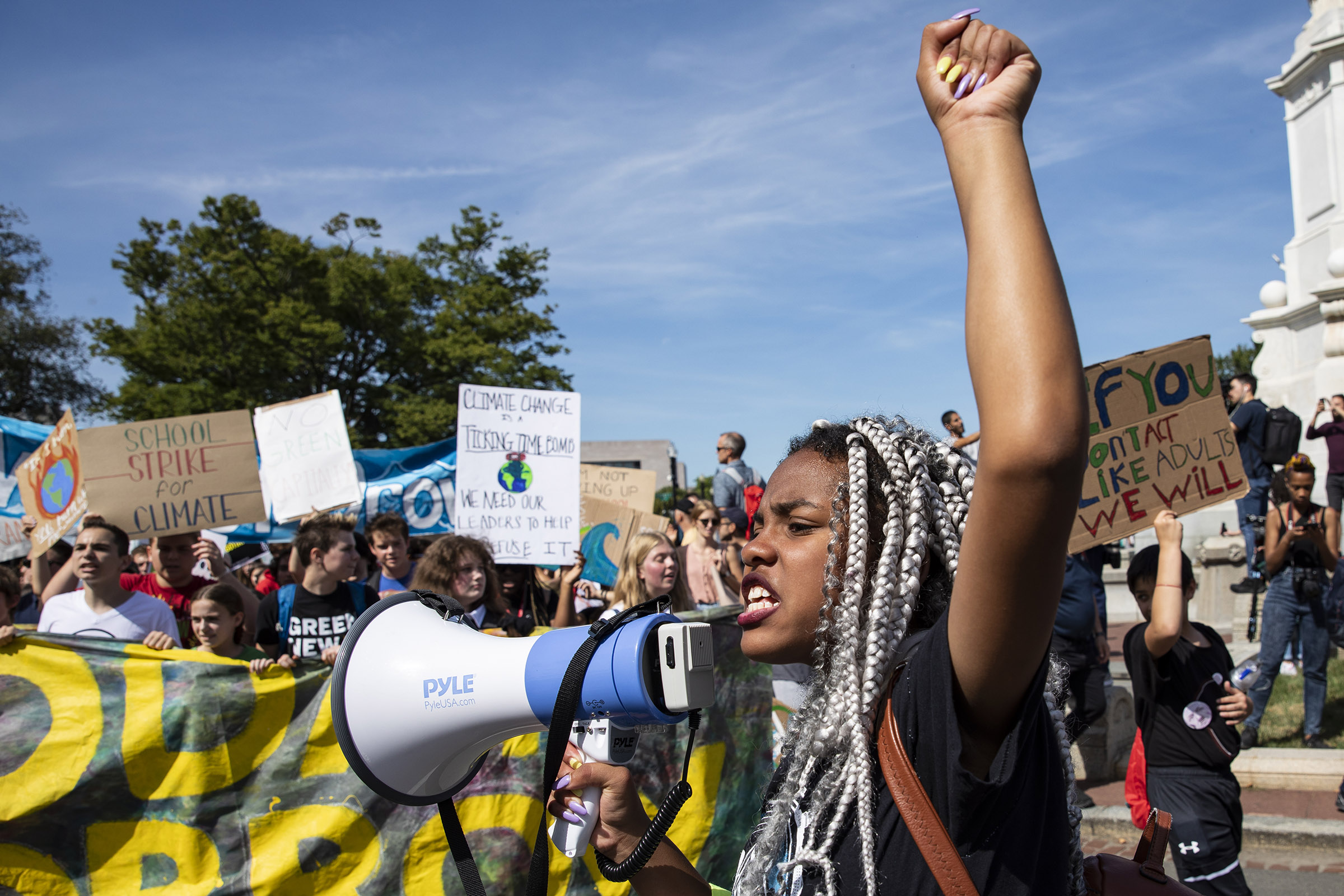 A'niya Taylor, 16, from Baltimore, MD, leads other youth down Pennsylvania Avenue to the U.S. Capitol Building as part of the Global Climate Strike protests on September 20, 2019 in Washington, DC.