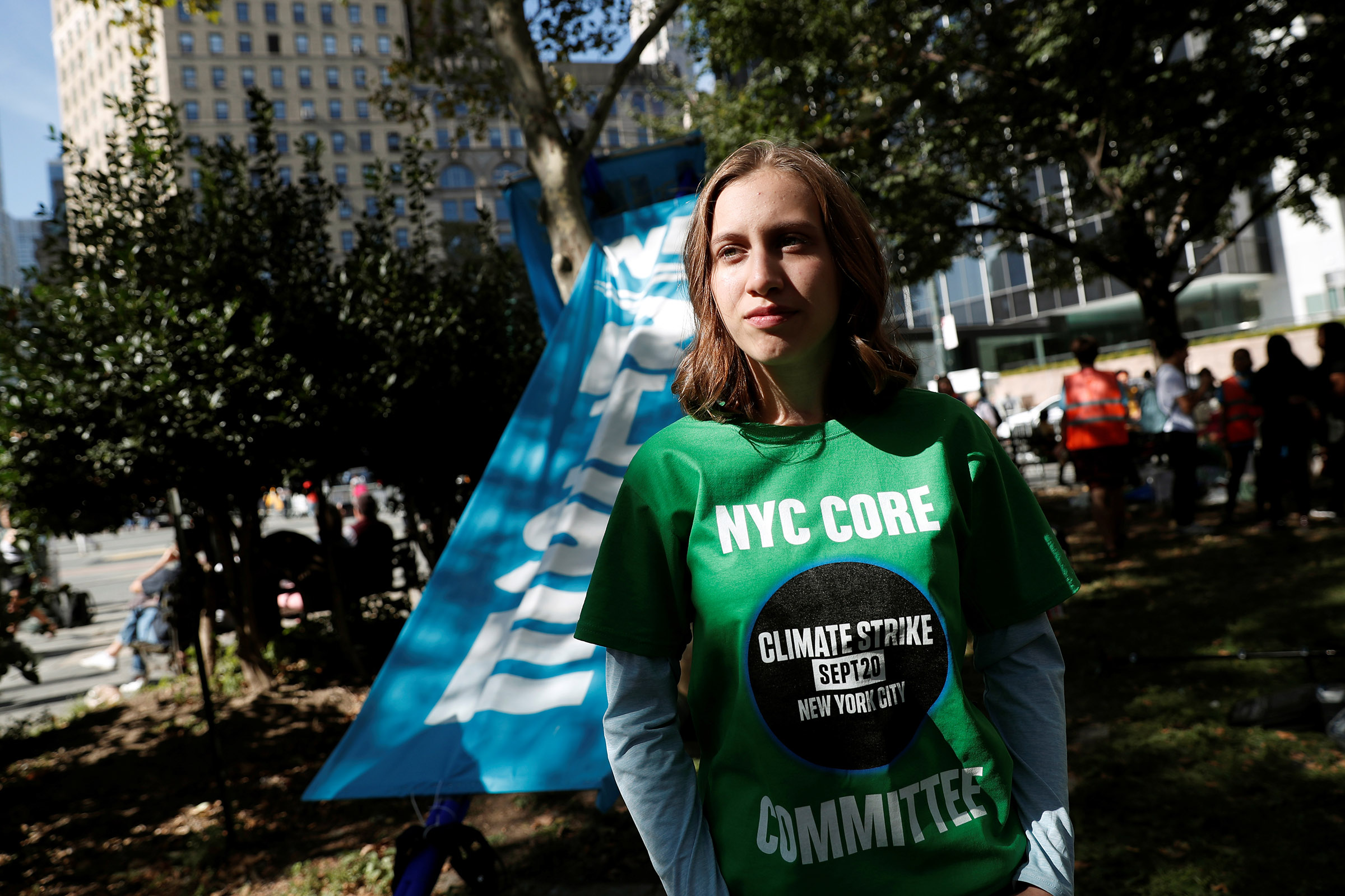 14-year-old activist Alexandria Villasenor takes part in a demonstration as part of the Global Climate Strike in Manhattan in New York, U.S., Sept. 20, 2019.