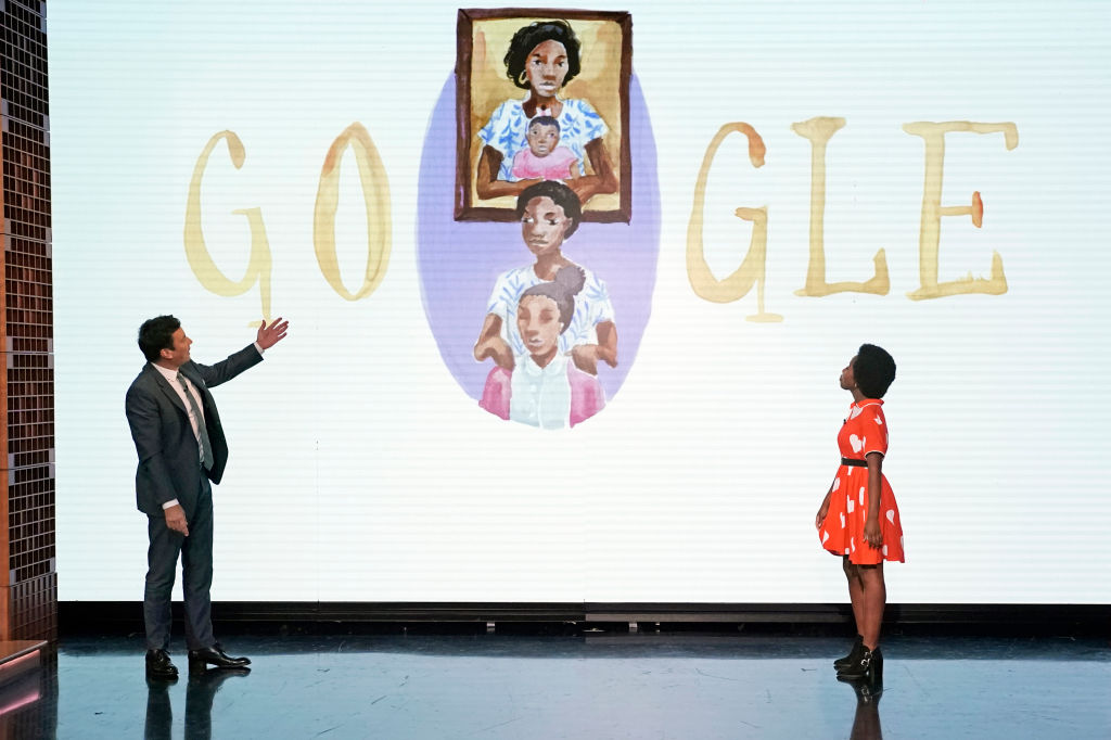 Jimmy Fallon and Doodle for Google National Winner Arantza Peña Popo during the Google Doodle reveal on 'The Tonight Show Starring Jimmy Fallon' on August 12, 2019.