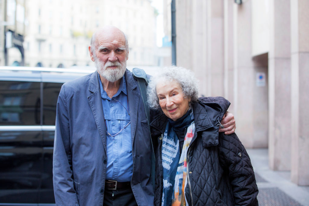 Margaret Atwood and Graeme Gibson in Mantova, Italy on December 7, 2017.