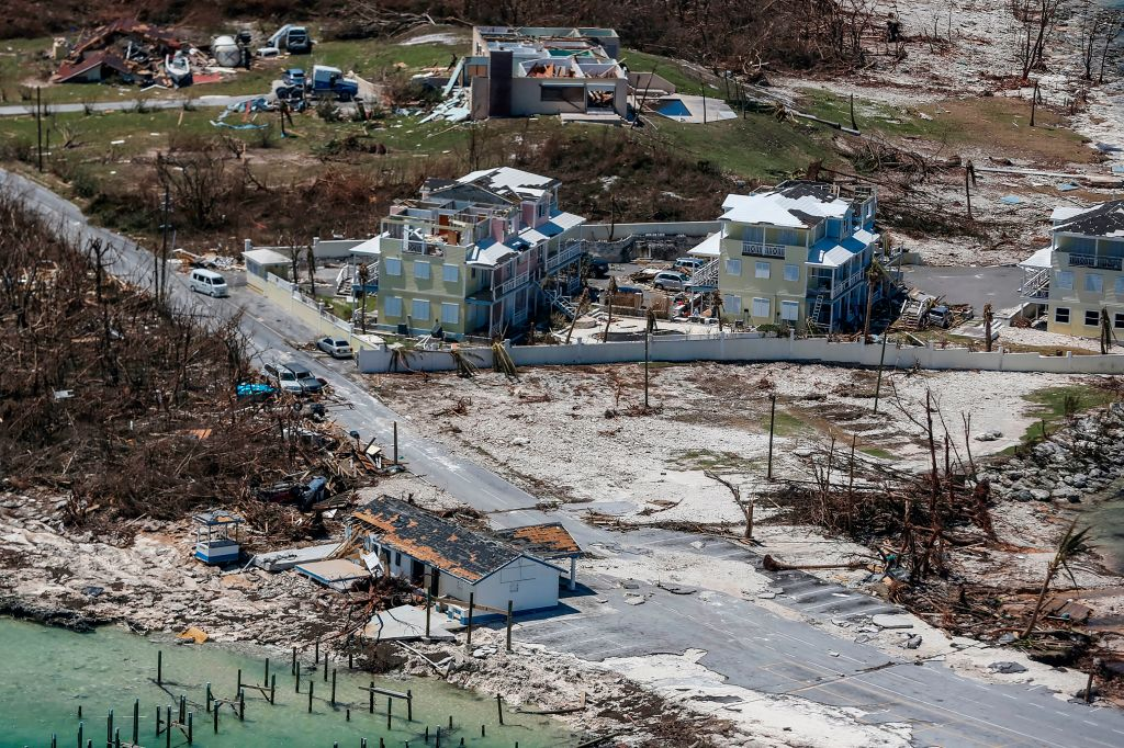 An aerial view of floods and damages from Hurricane Dorian on Great Abaco Island on Sept. 5, 2019.
